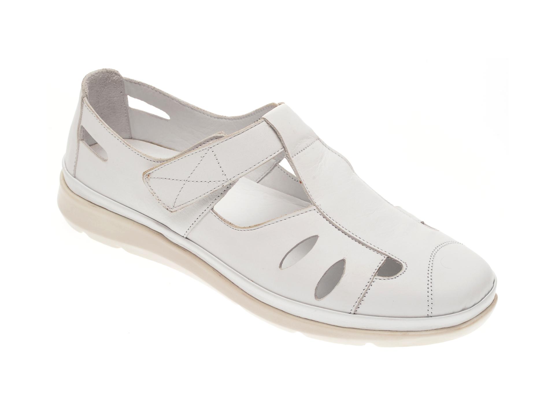 Pantofi MARCHA albi, 605, din piele naturala