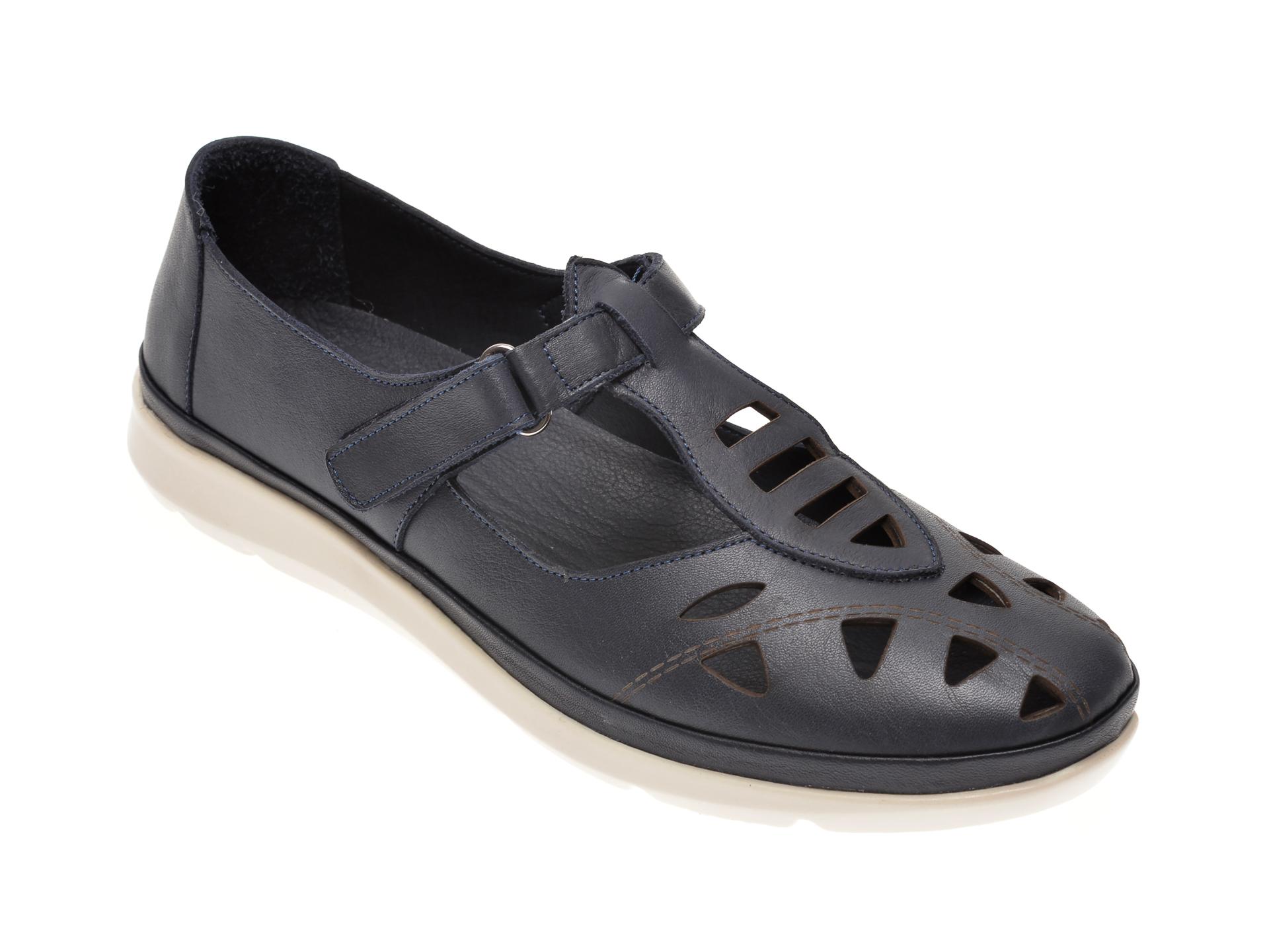 Pantofi MARCHA bleumarin, 609, din piele naturala