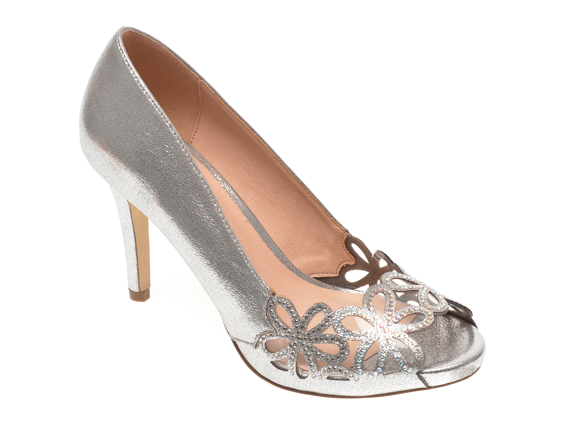 Pantofi MENBUR argintii, 21777, din piele ecologica imagine otter.ro 2021