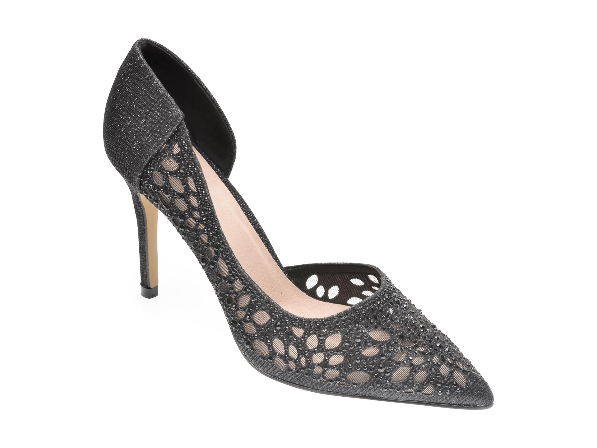 Pantofi MENBUR negri, 21953, din piele ecologica
