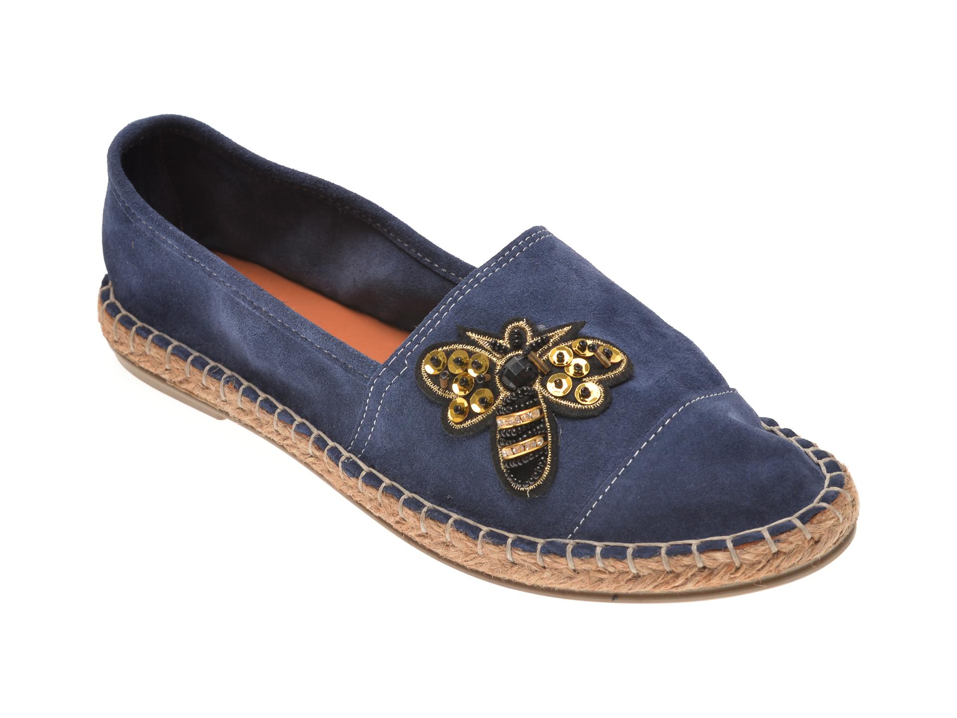 Pantofi MESSIMODA albastri, 18Y1167, din piele intoarsa