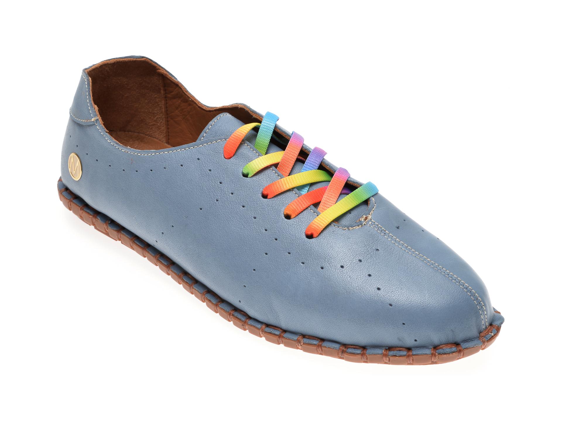 Pantofi MESSIMODA albastri, 20Y2902, din piele naturala