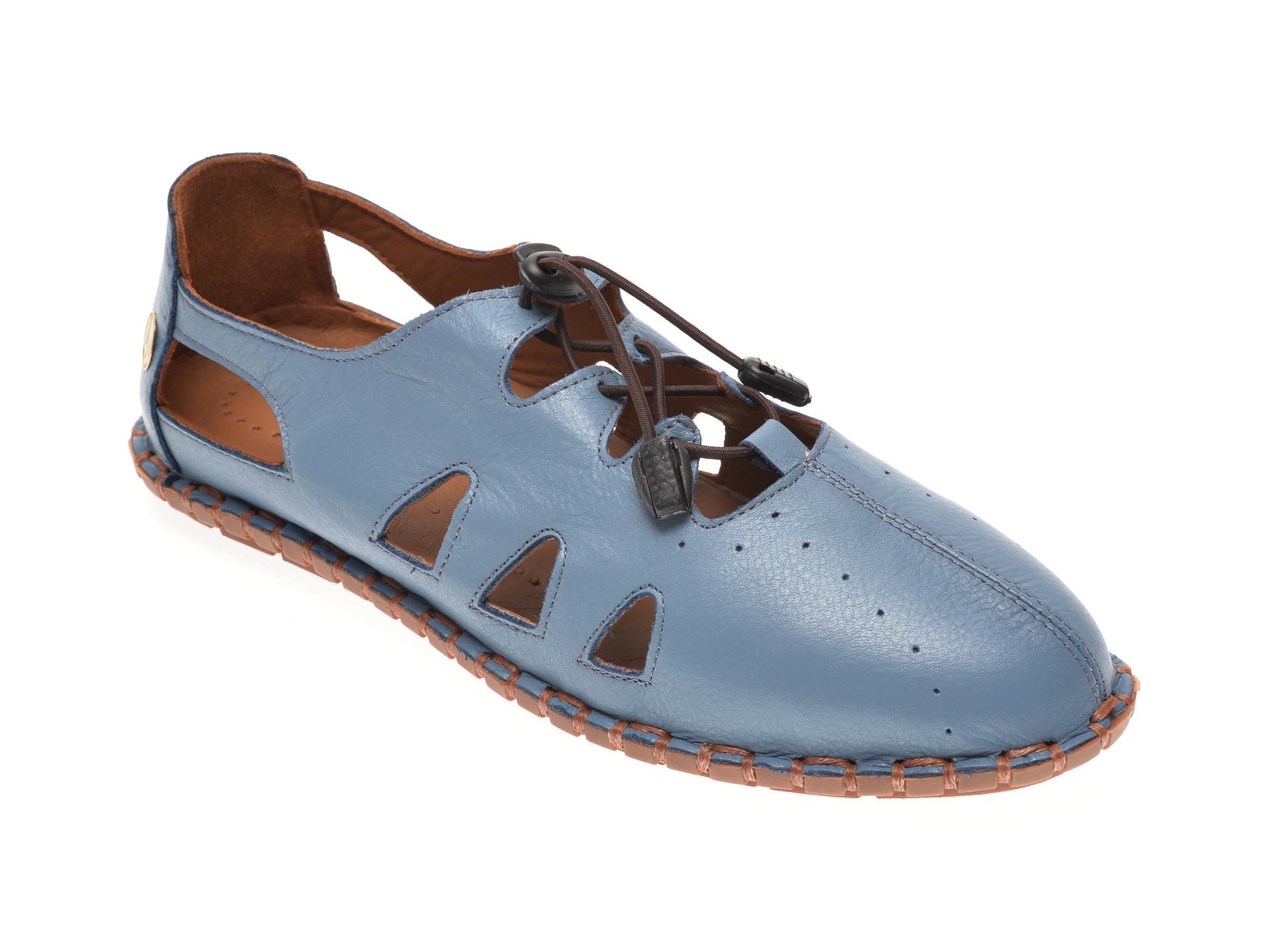 Pantofi MESSIMODA albastri, 20Y2923, din piele naturala