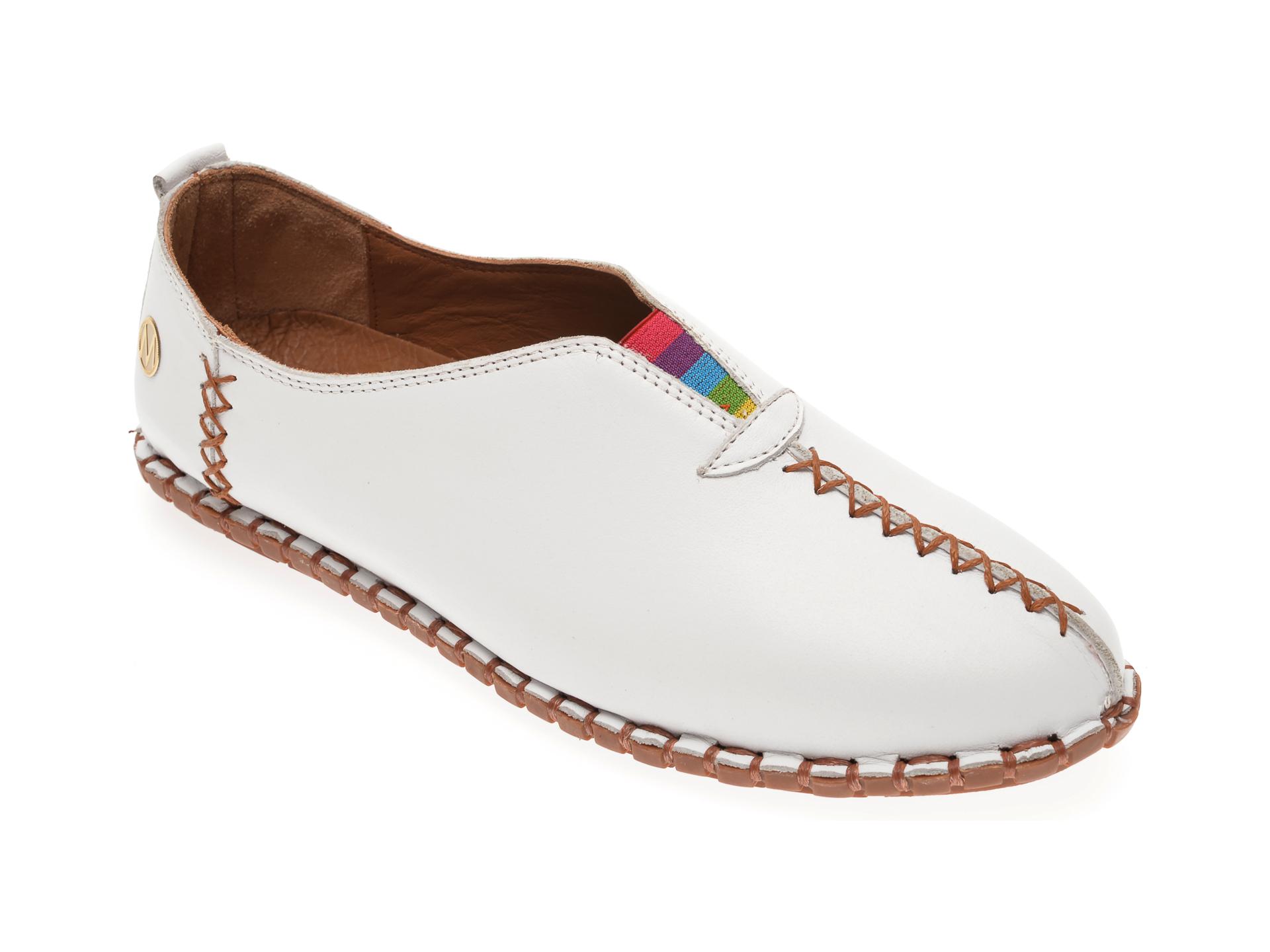 Pantofi MESSIMODA albi, 19Y2901, din piele naturala