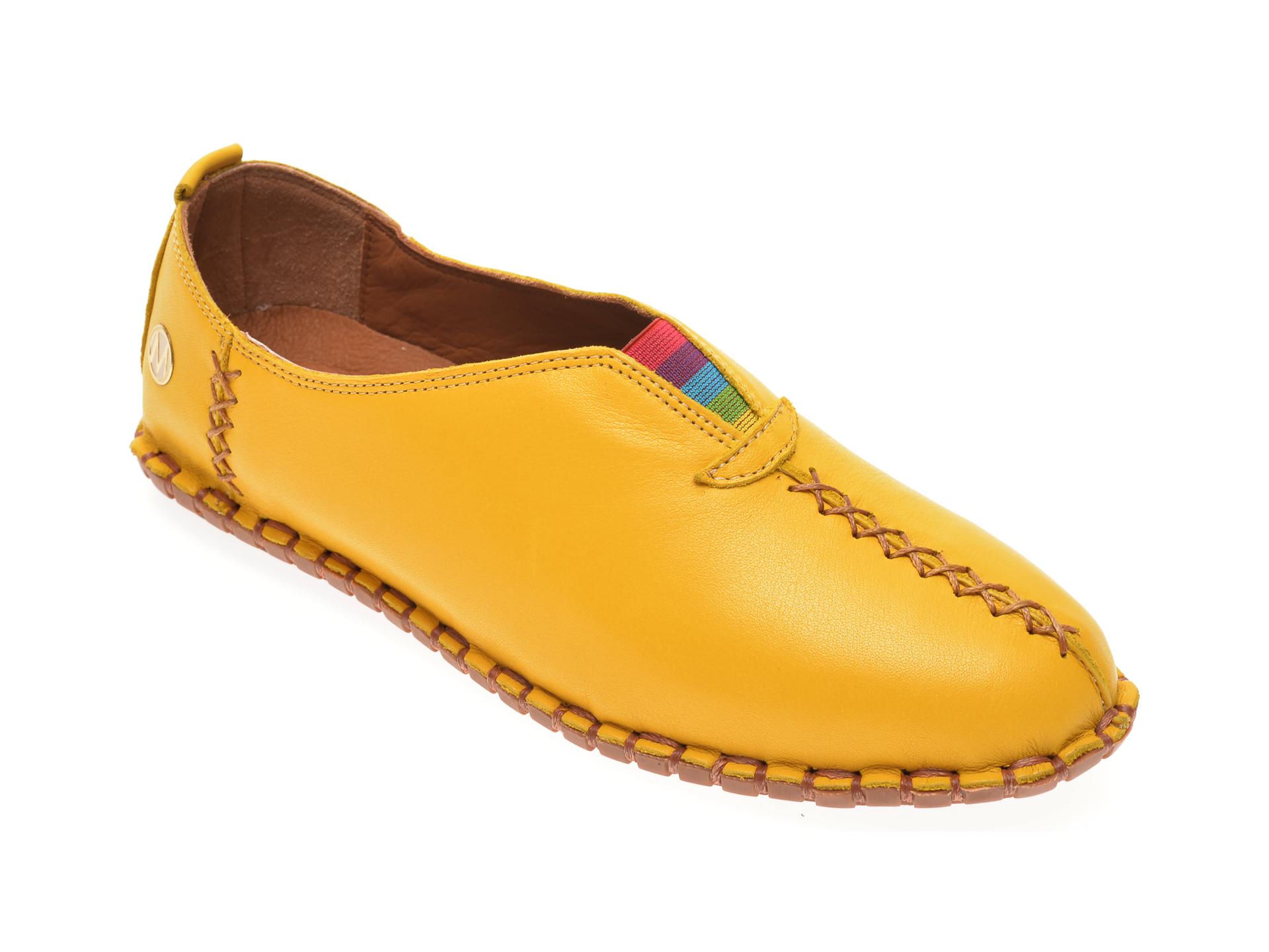 Pantofi Messimoda Galbeni, 20y2901, Din Piele Naturala