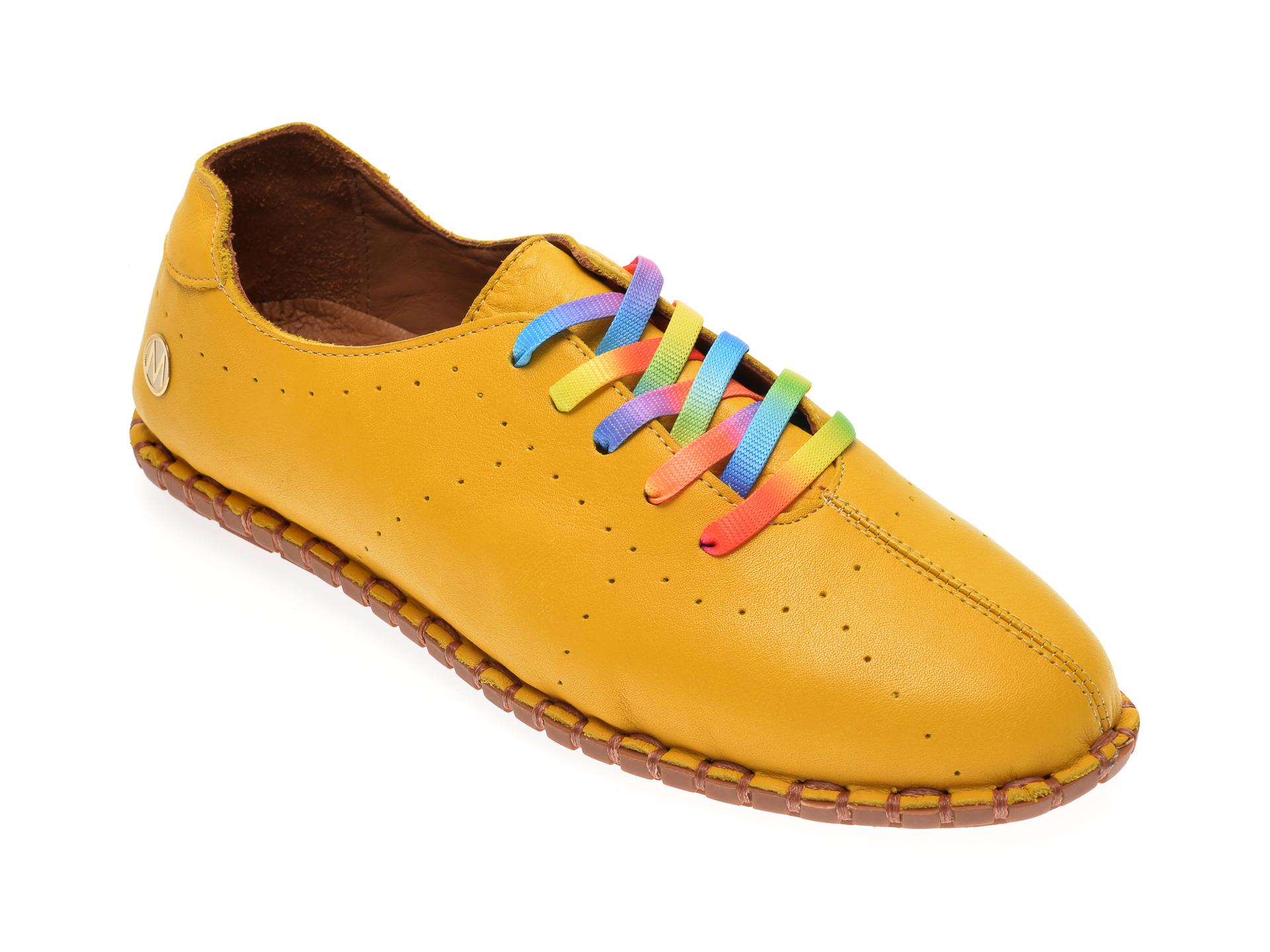 Pantofi MESSIMODA galbeni, 20Y2902, din piele naturala