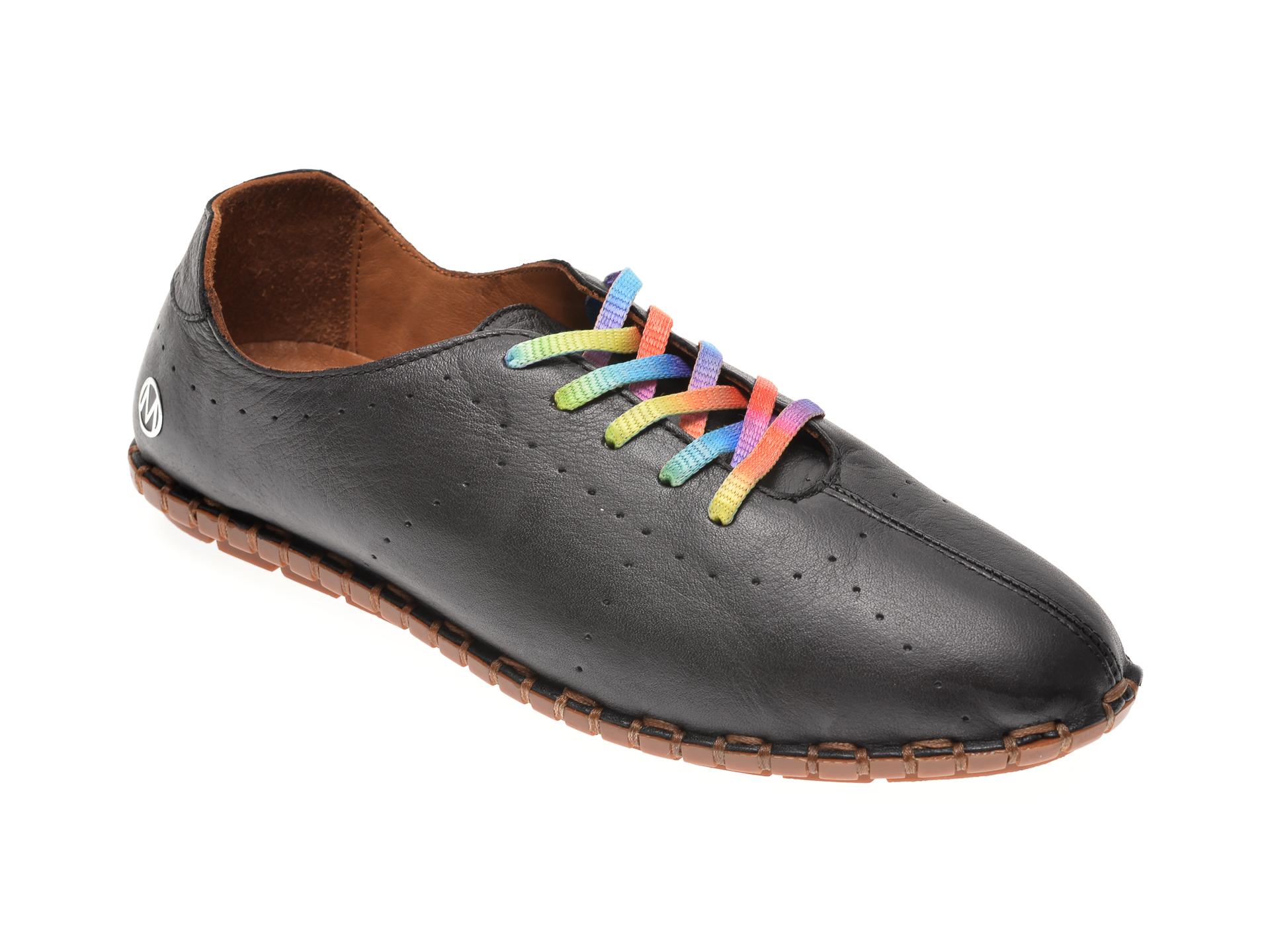 Pantofi MESSIMODA negri, 20Y2902, din piele naturala