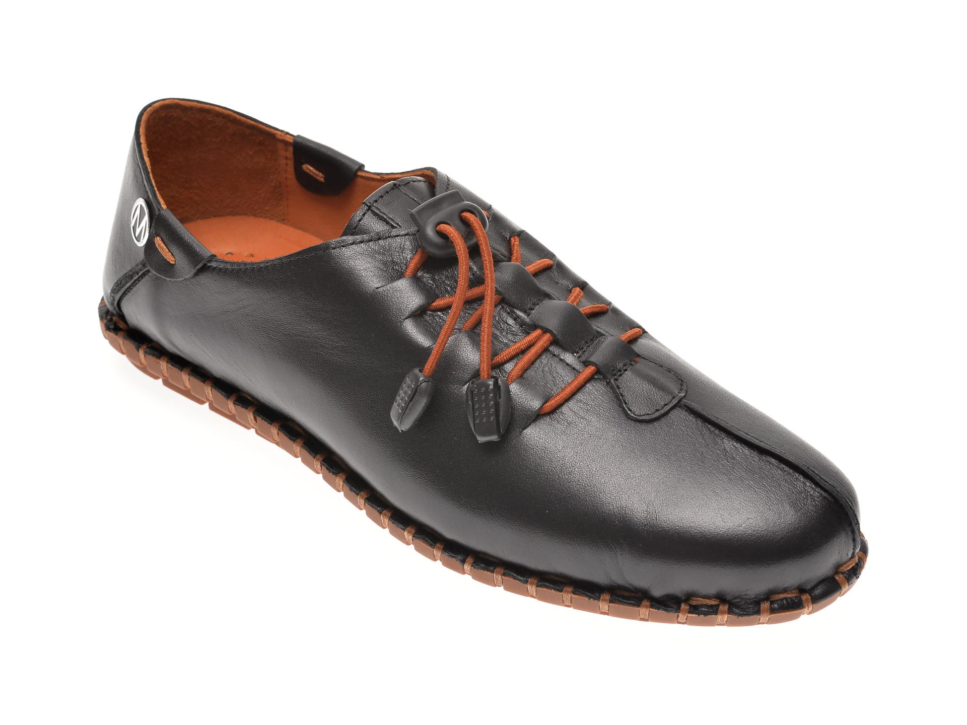 Pantofi MESSIMODA negri, 20Y2905, din piele naturala