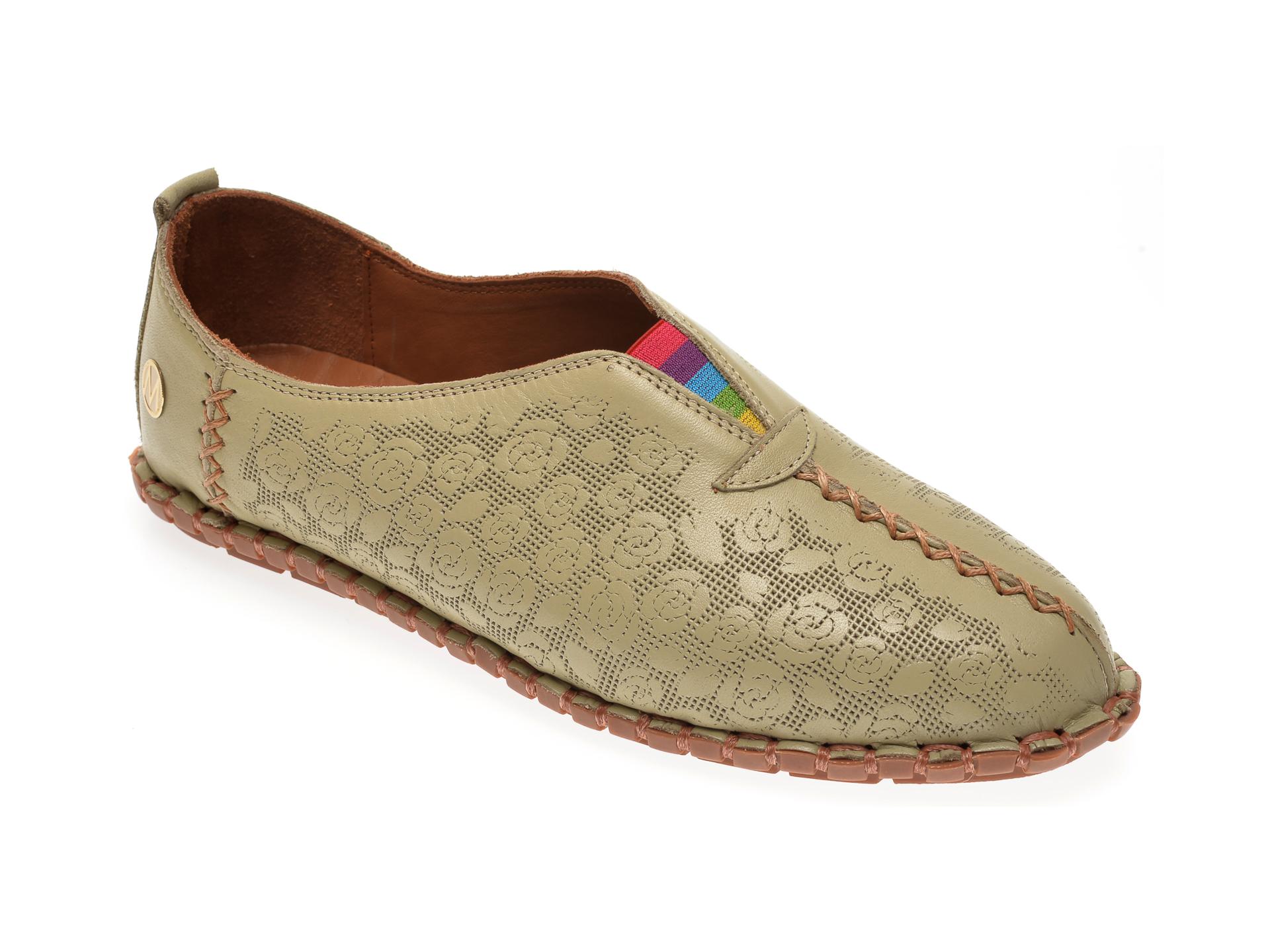 Pantofi MESSIMODA verzi, 20Y3515, din piele naturala