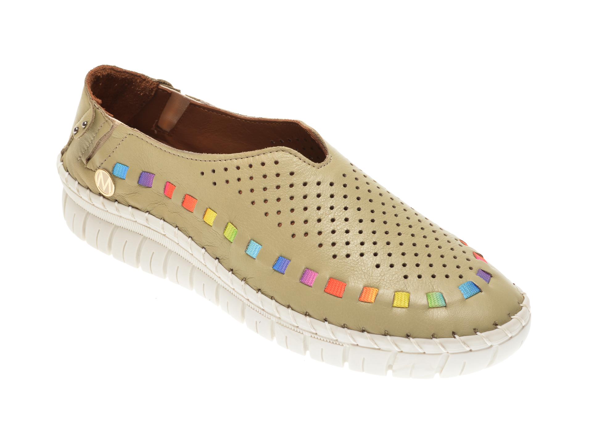 Pantofi MESSIMODA verzi, 20Y3547, din piele naturala