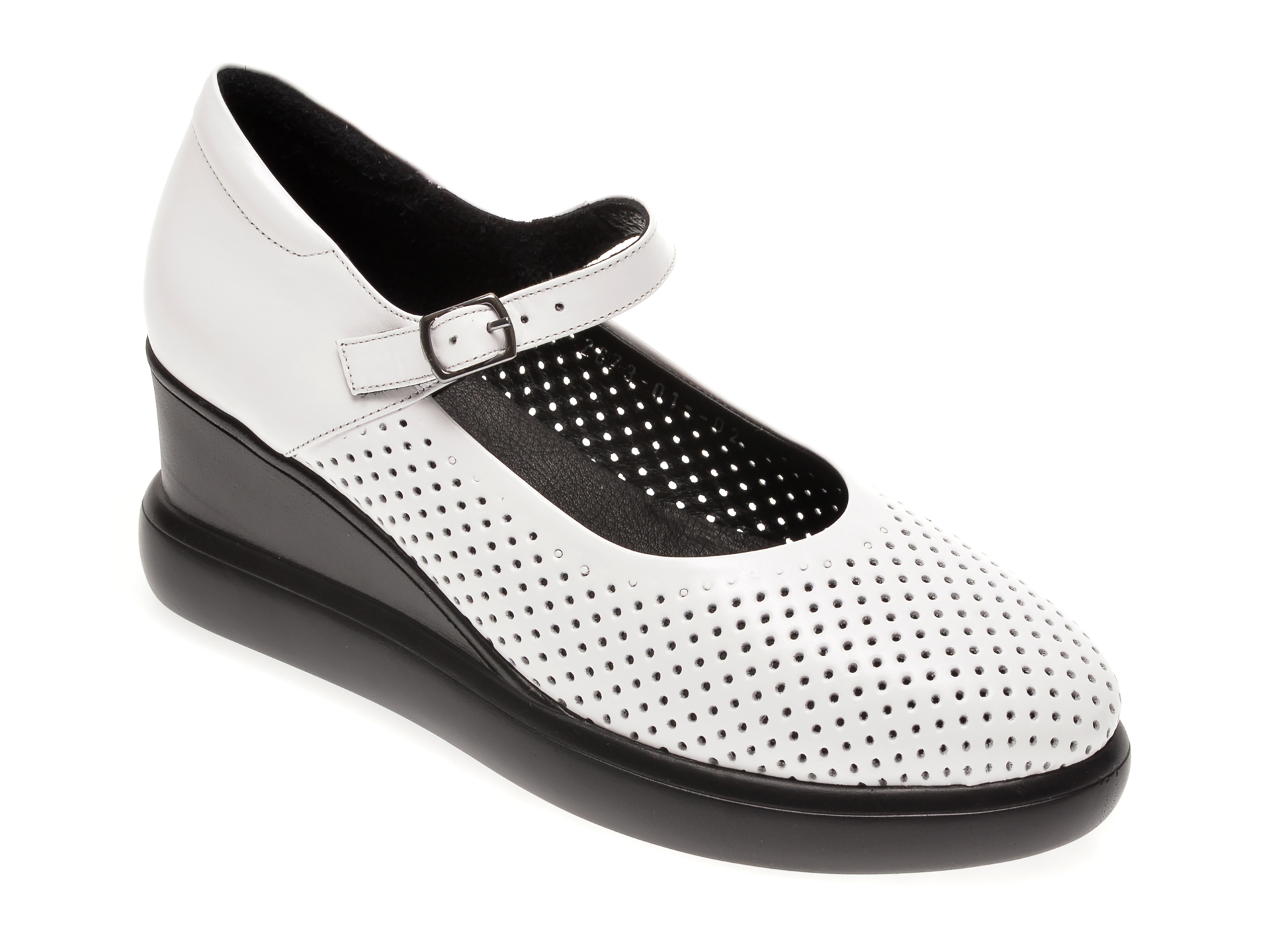 Pantofi MISS LIZA albi, 1182673, din piele naturala imagine