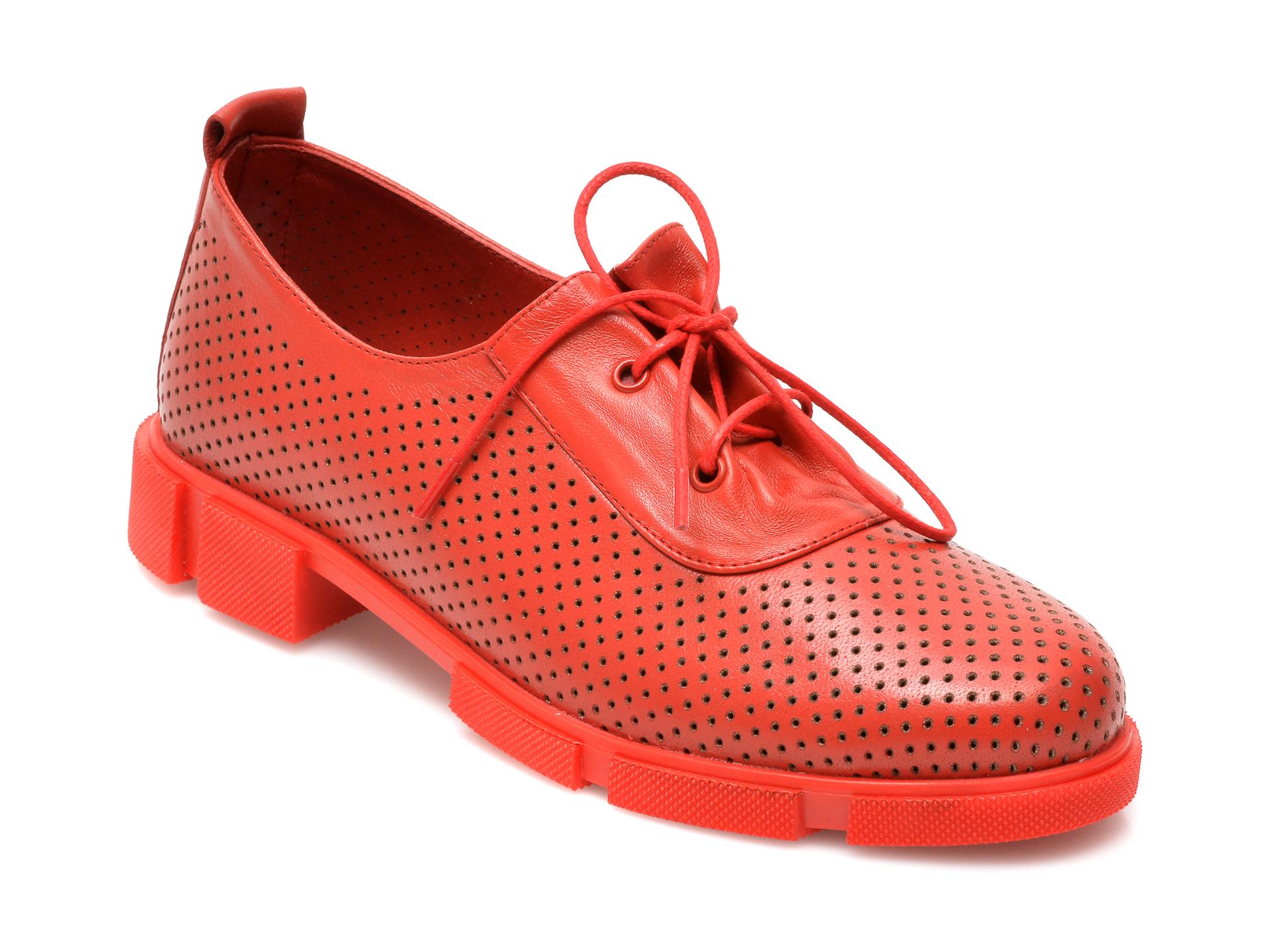 Pantofi MOLLY BESSA rosii, MN121, din piele naturala