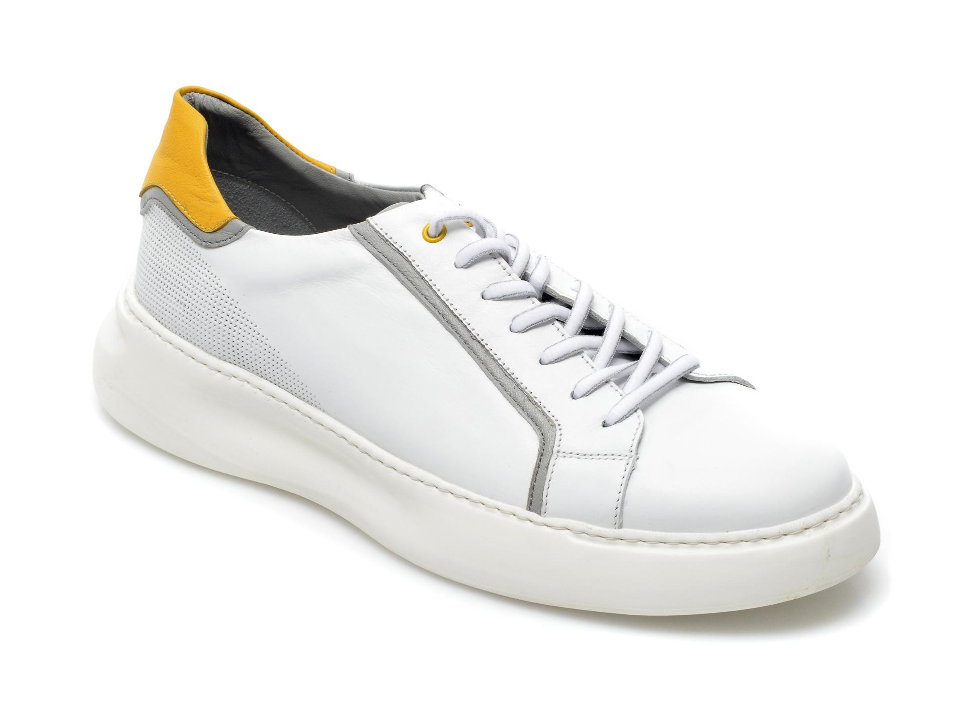 Pantofi OTTER albi, 25503, din piele naturala imagine