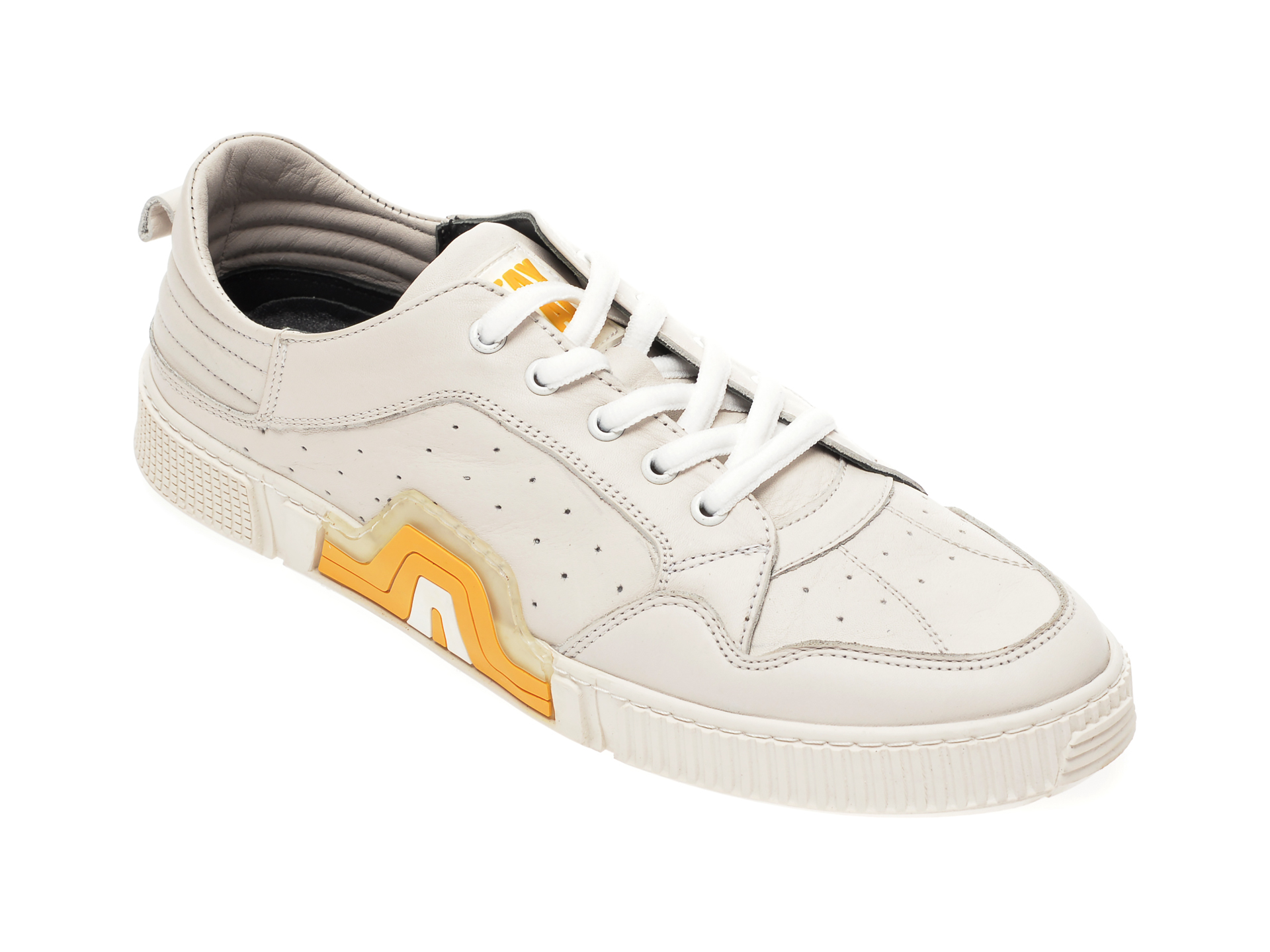 Pantofi OTTER albi, 72404, din piele naturala imagine