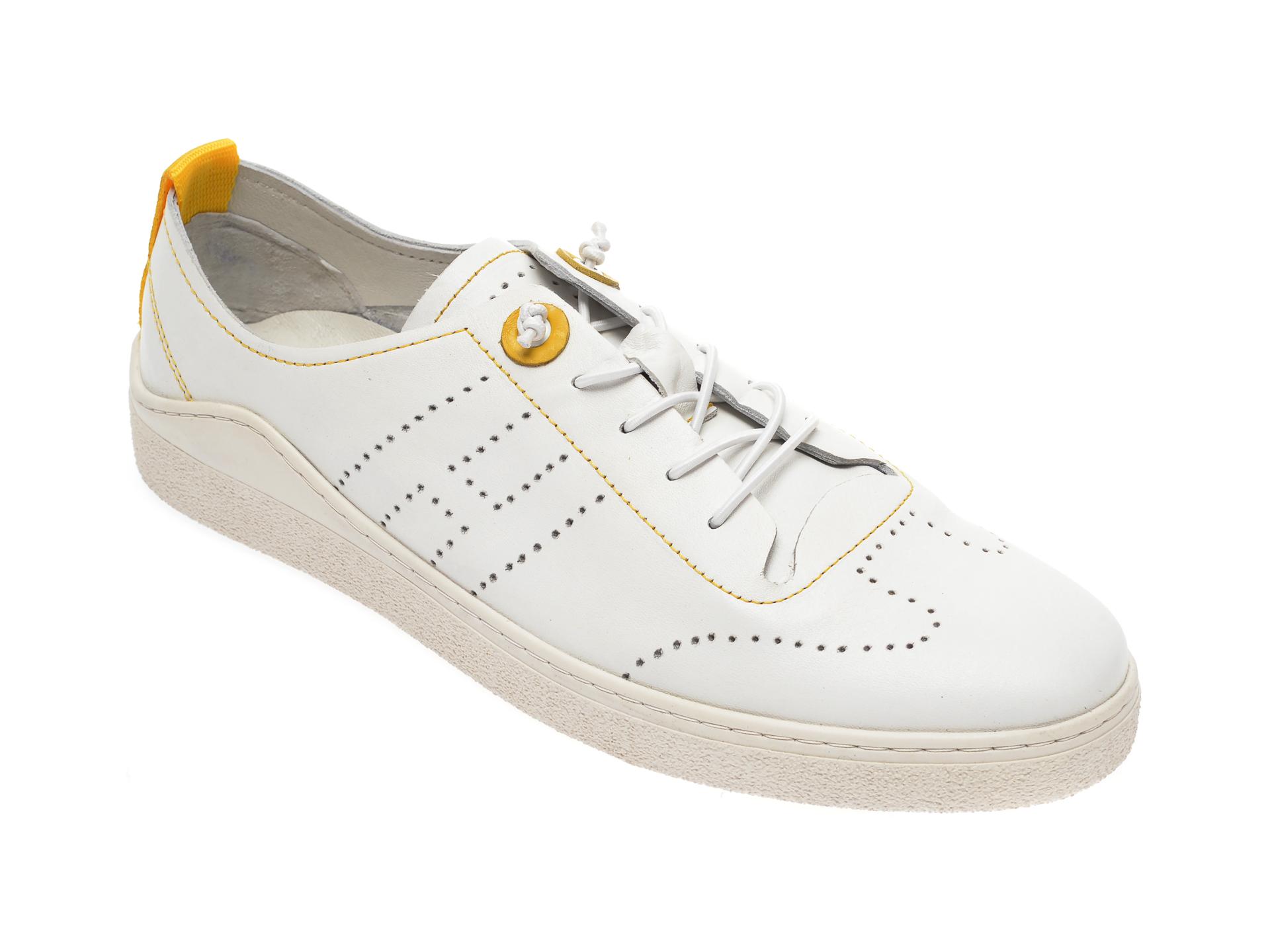 Pantofi OTTER albi, M6000, din piele naturala imagine