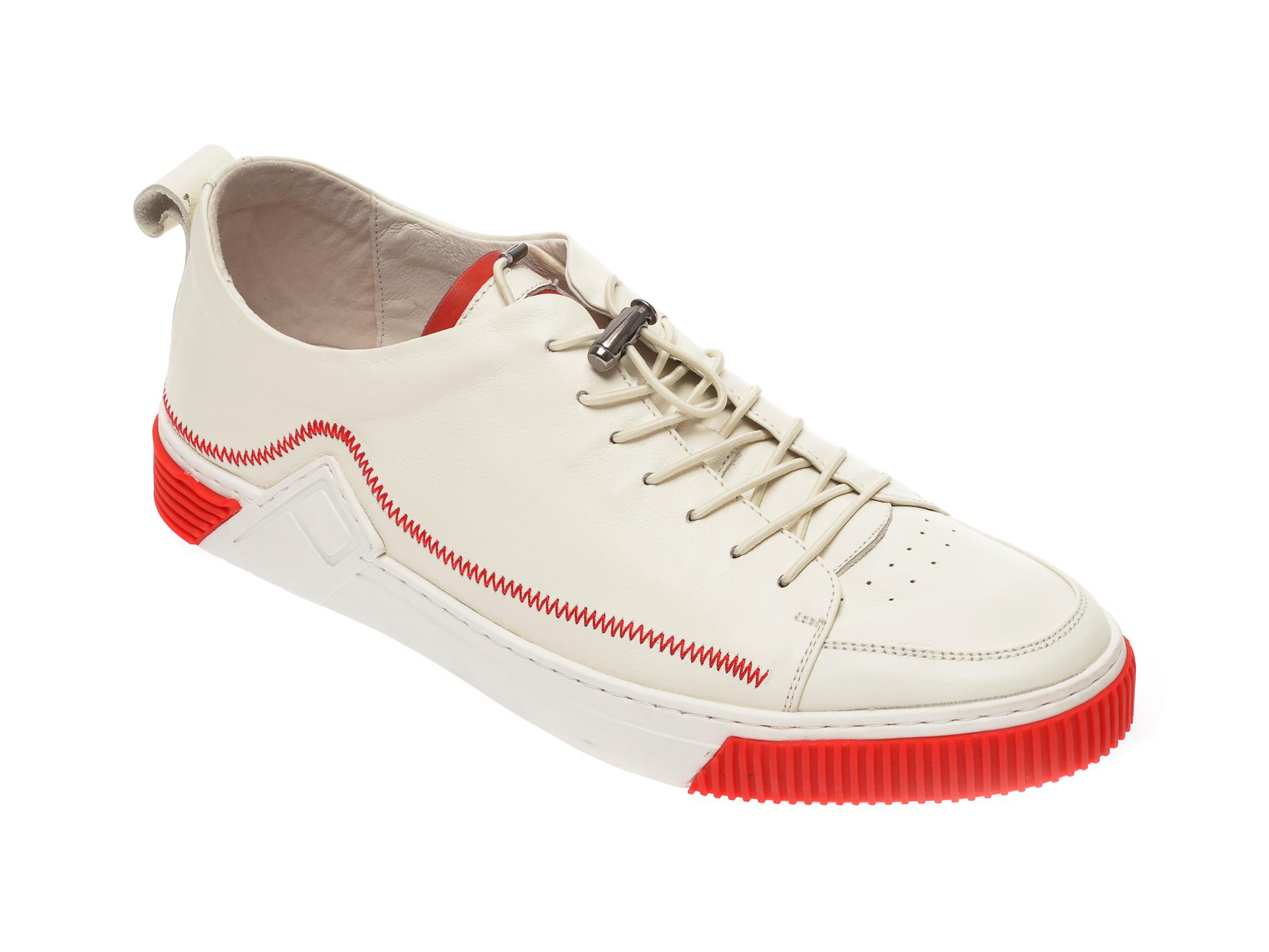 Pantofi OTTER albi, S076151, din piele naturala imagine