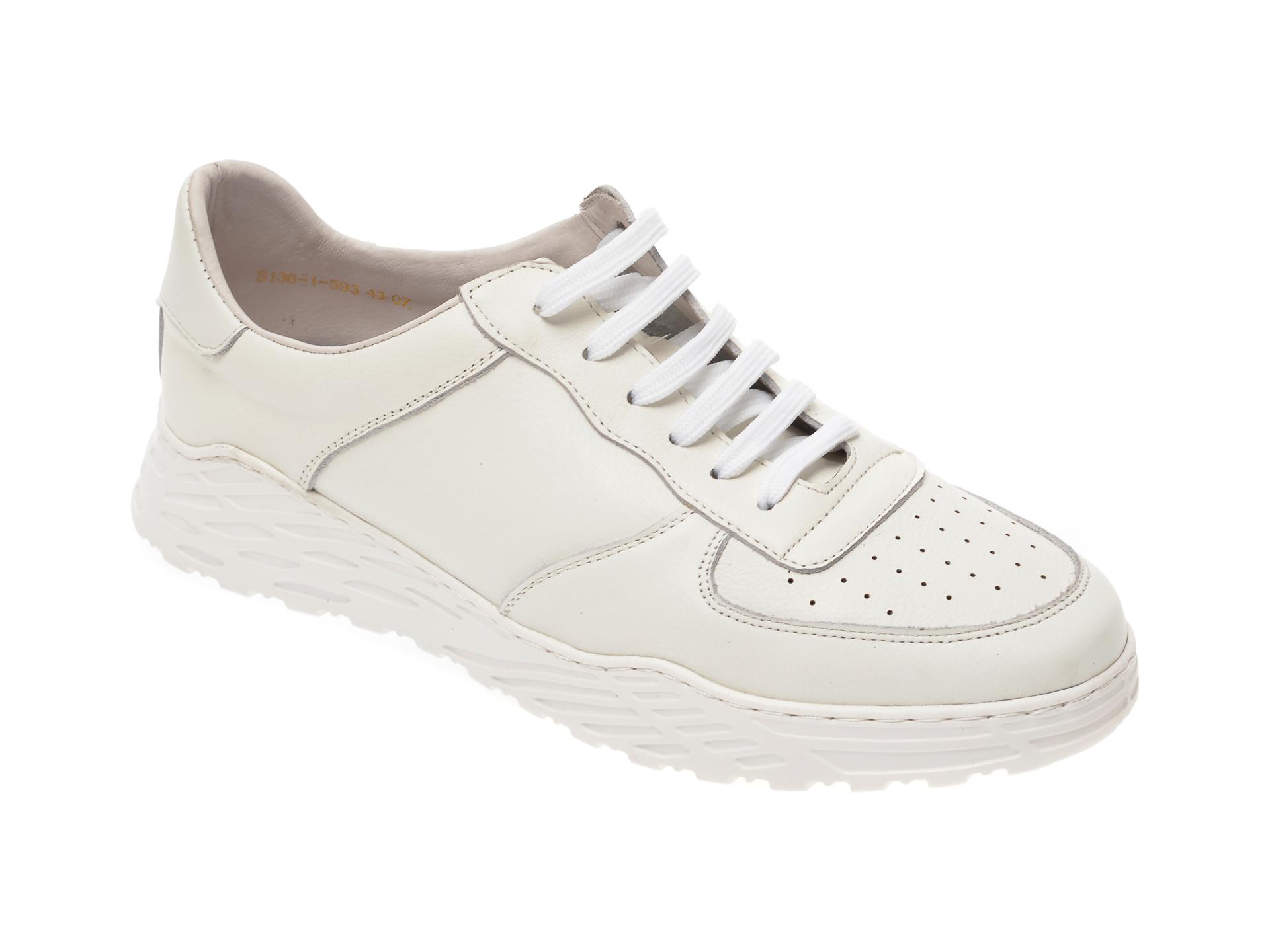 Pantofi Otter Albi, S136, Din Piele Naturala