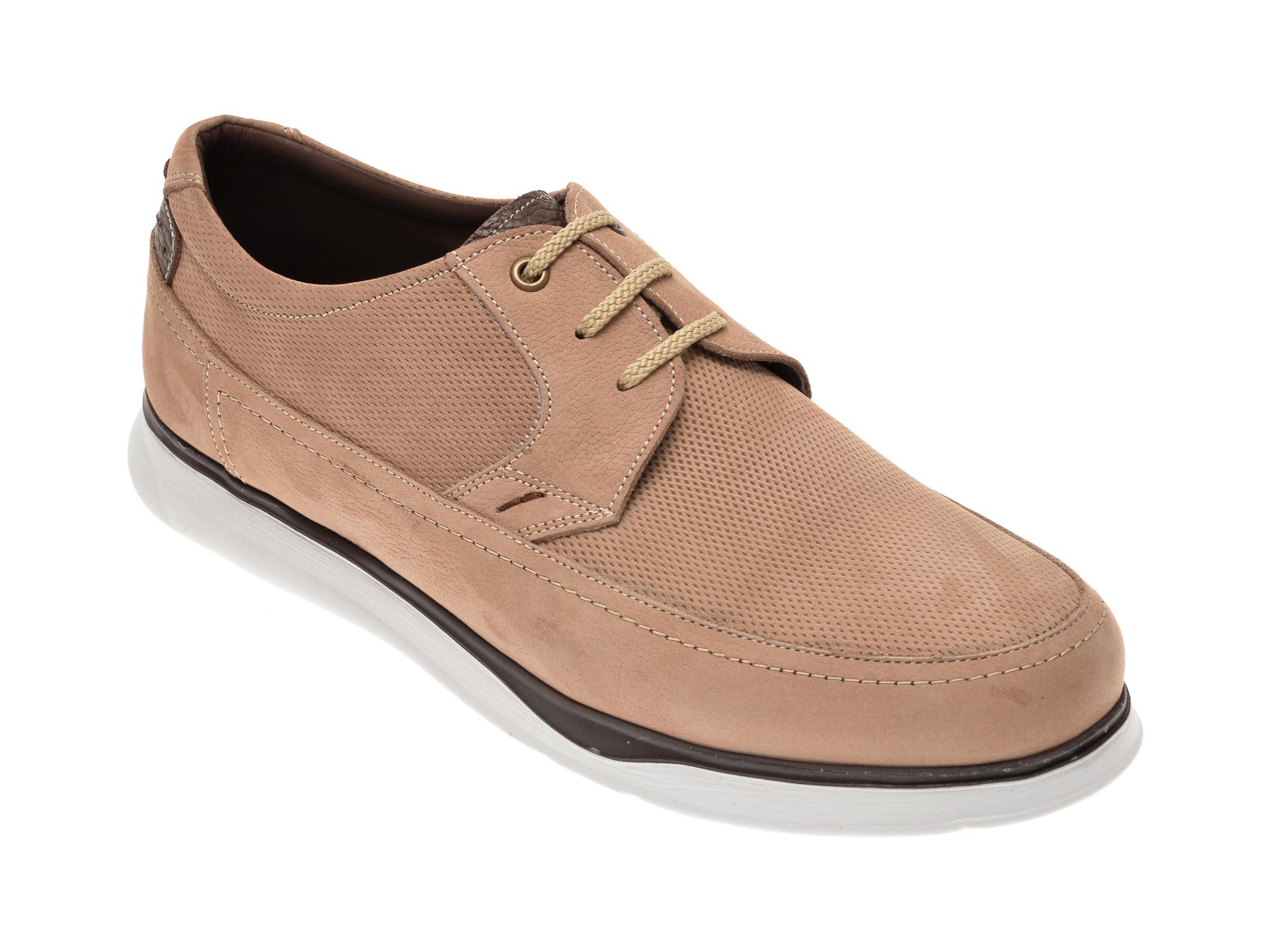Pantofi OTTER bej, 19332, din piele intoarsa