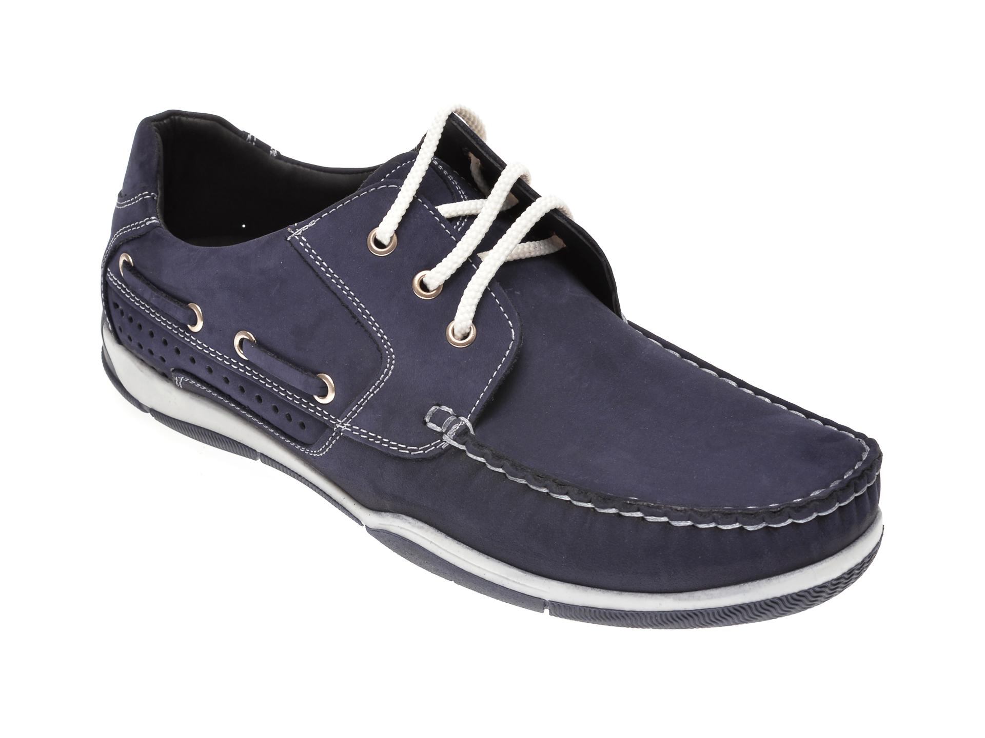 Pantofi OTTER bleumarin, 111532, din piele intoarsa New