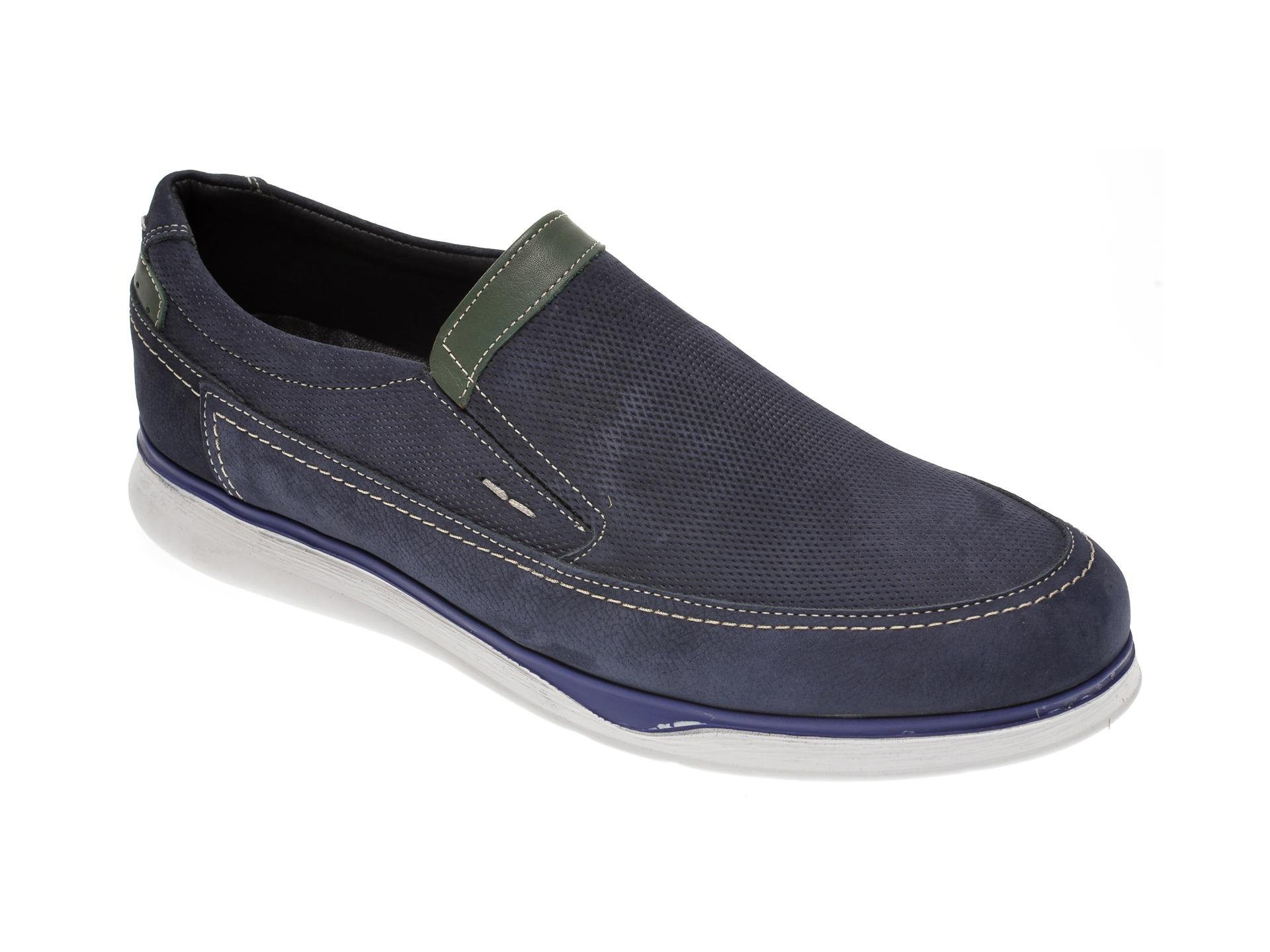 Pantofi OTTER bleumarin, 19331, din piele intoarsa imagine