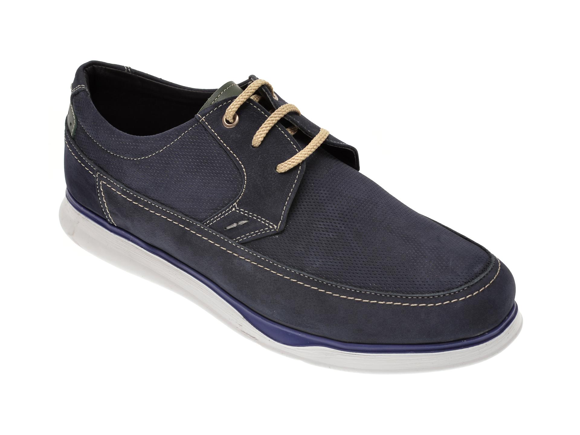 Pantofi OTTER bleumarin, 19332, din piele intoarsa New