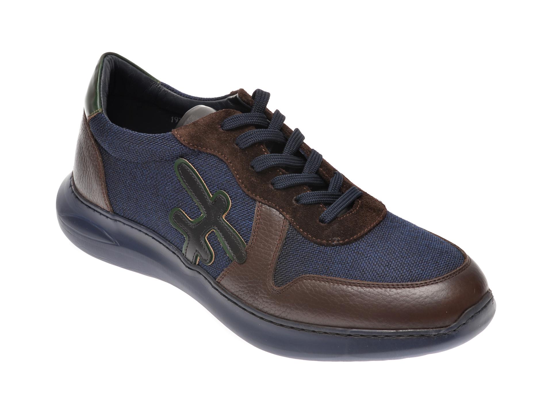 Pantofi OTTER bleumarin, 1973, din material textil si piele naturala imagine