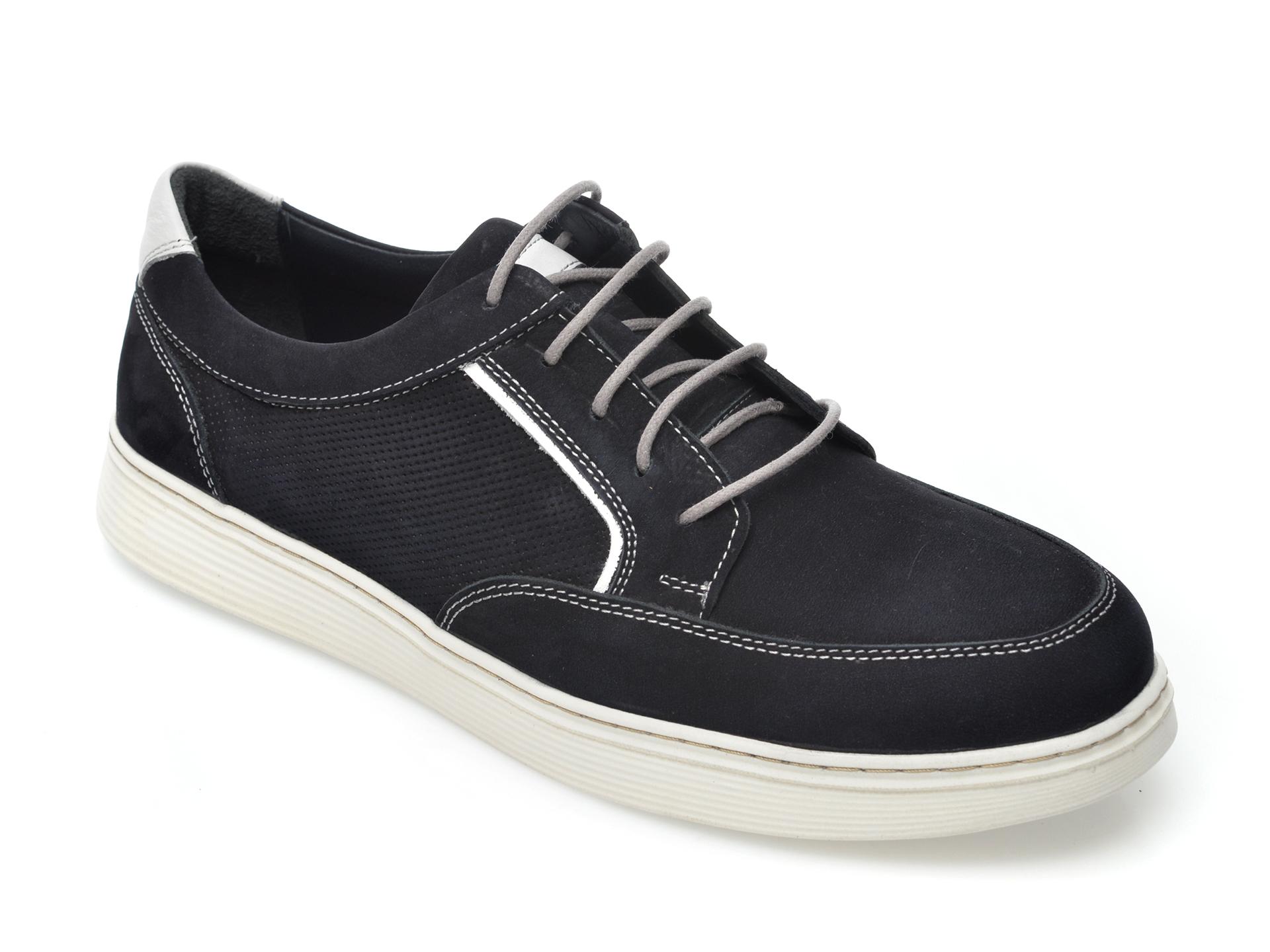 Pantofi OTTER bleumarin, 204108, din nabuc New