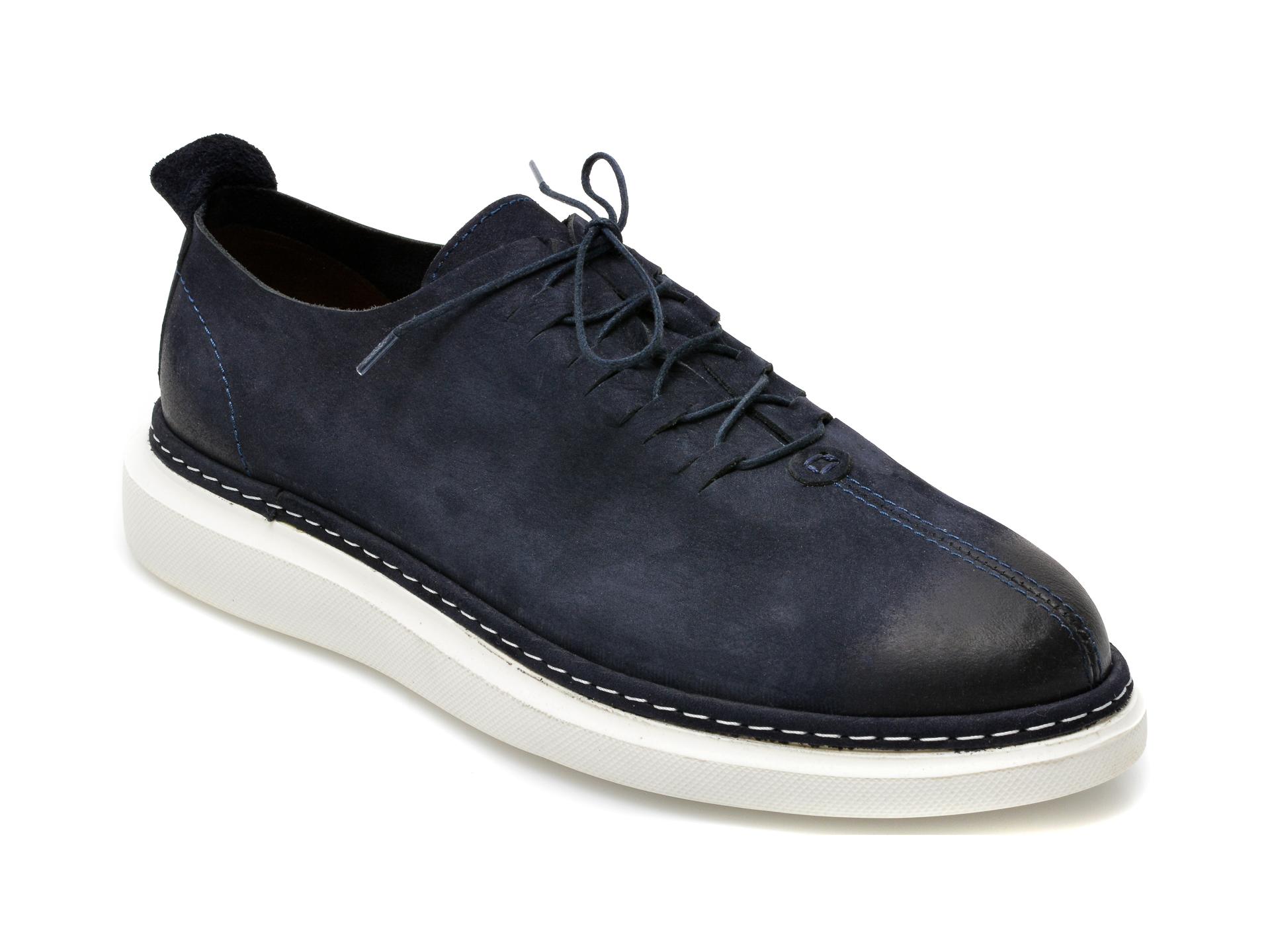 Pantofi OTTER bleumarin, 21KL801, din nabuc imagine otter.ro