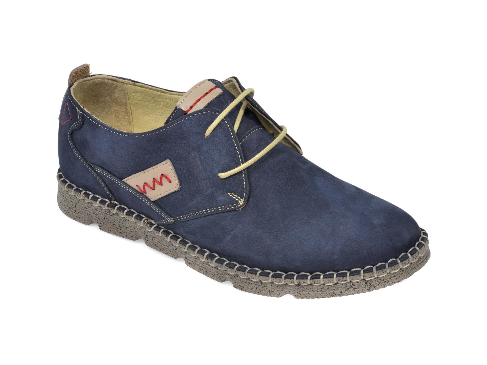 Pantofi OTTER bleumarin, 2818, din nabuc imagine