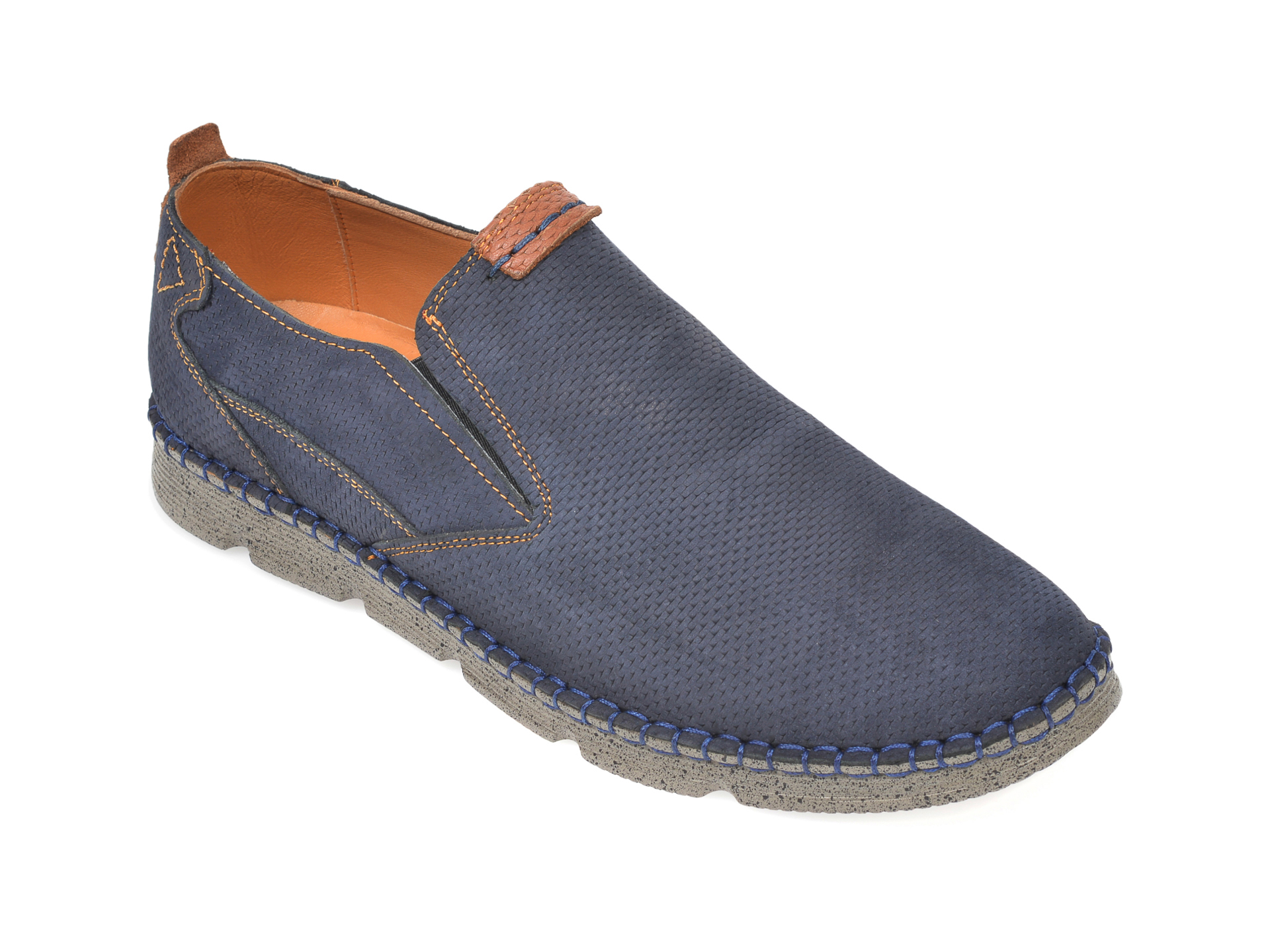 Pantofi OTTER bleumarin, 2819, din nabuc imagine