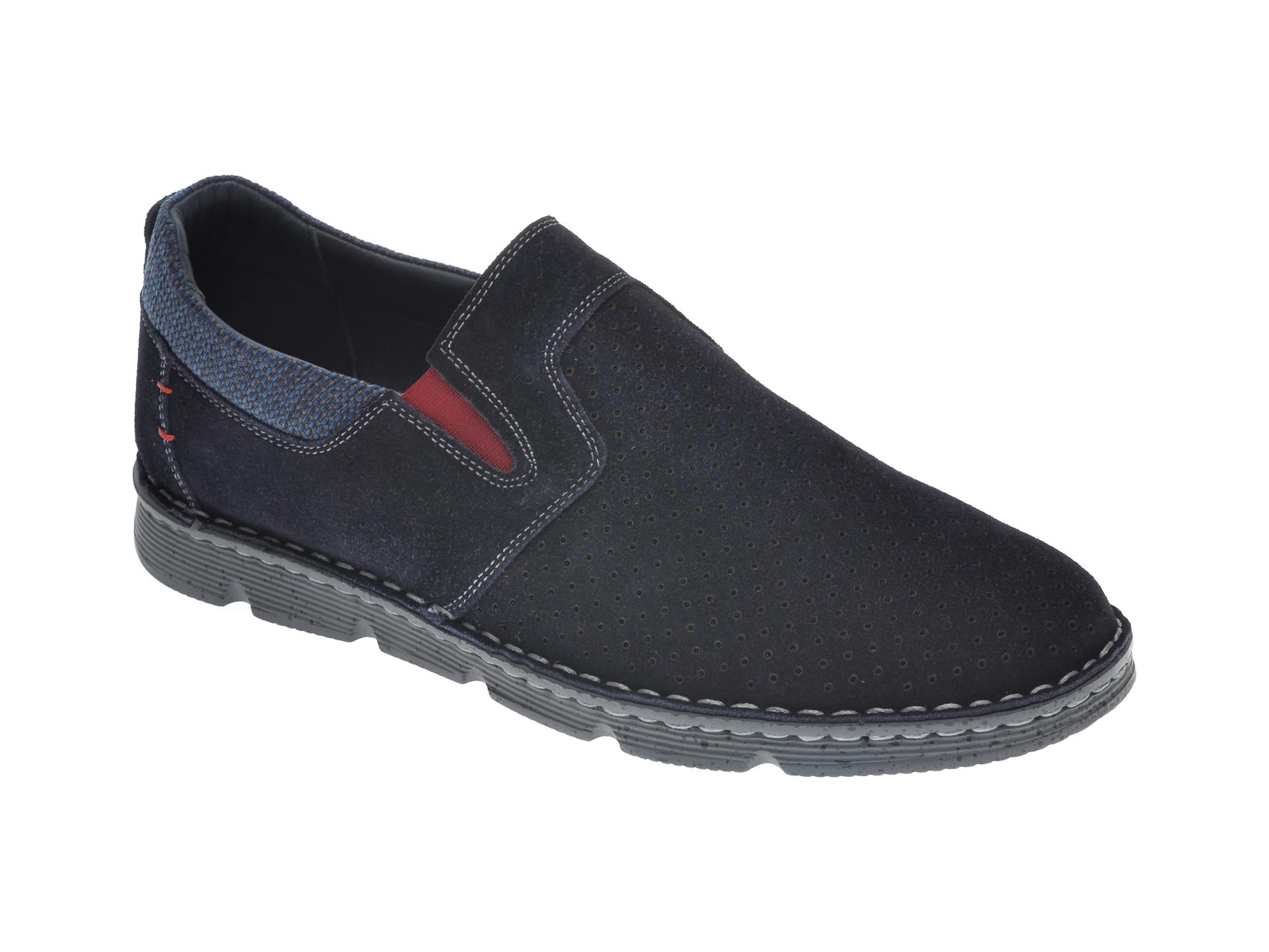 Pantofi OTTER bleumarin, 2832, din piele intoarsa New
