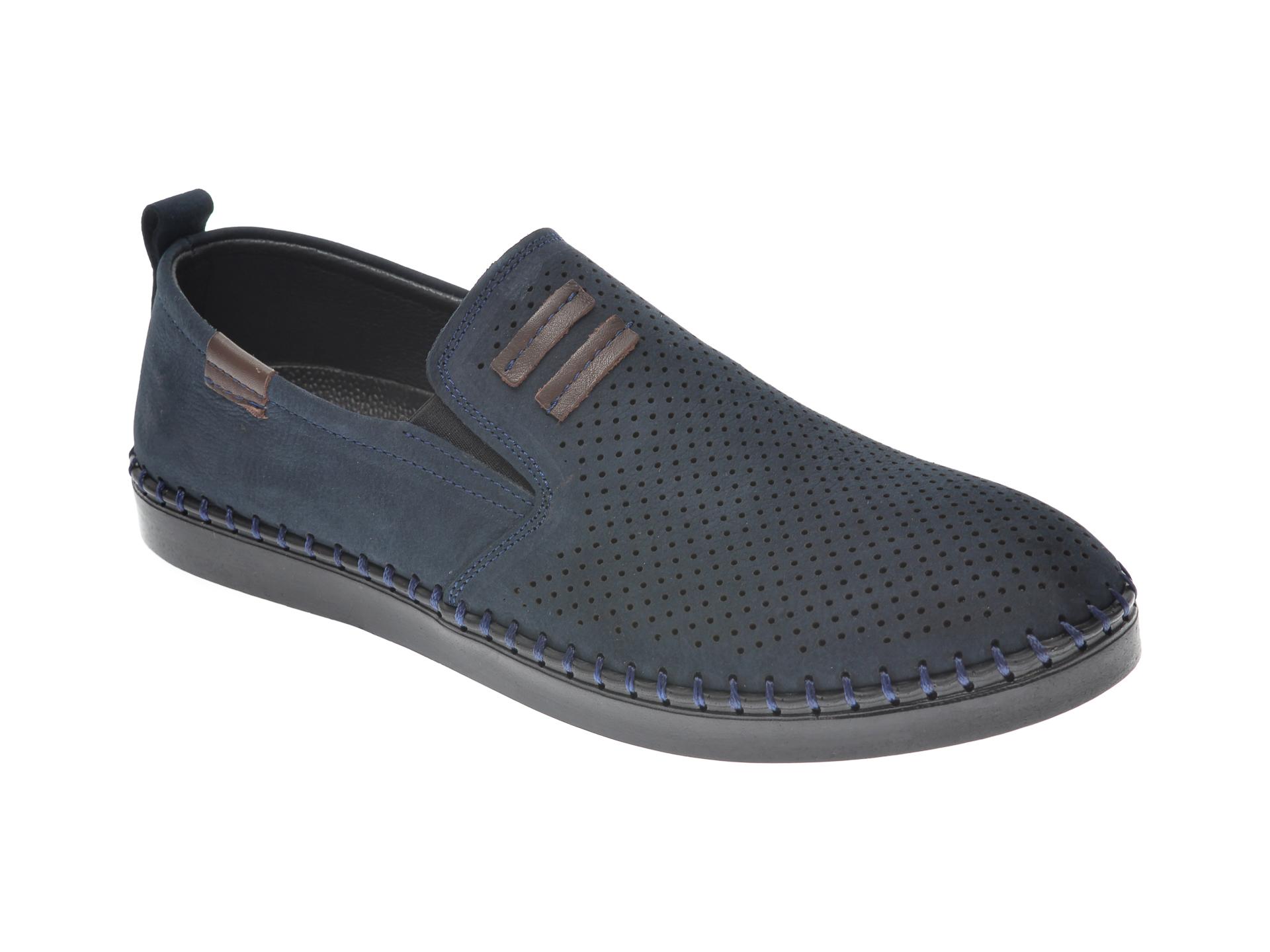 Pantofi OTTER bleumarin, 2870, din nabuc New
