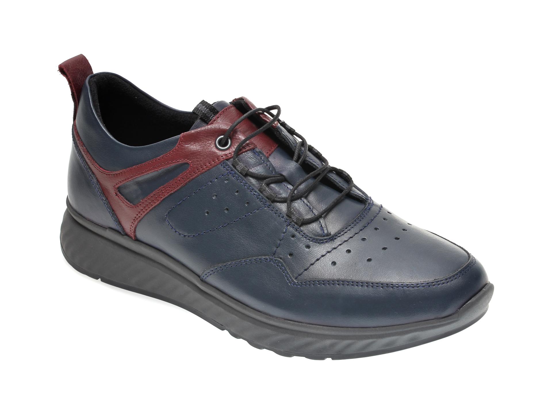 Pantofi OTTER bleumarin, 411, din piele naturala imagine