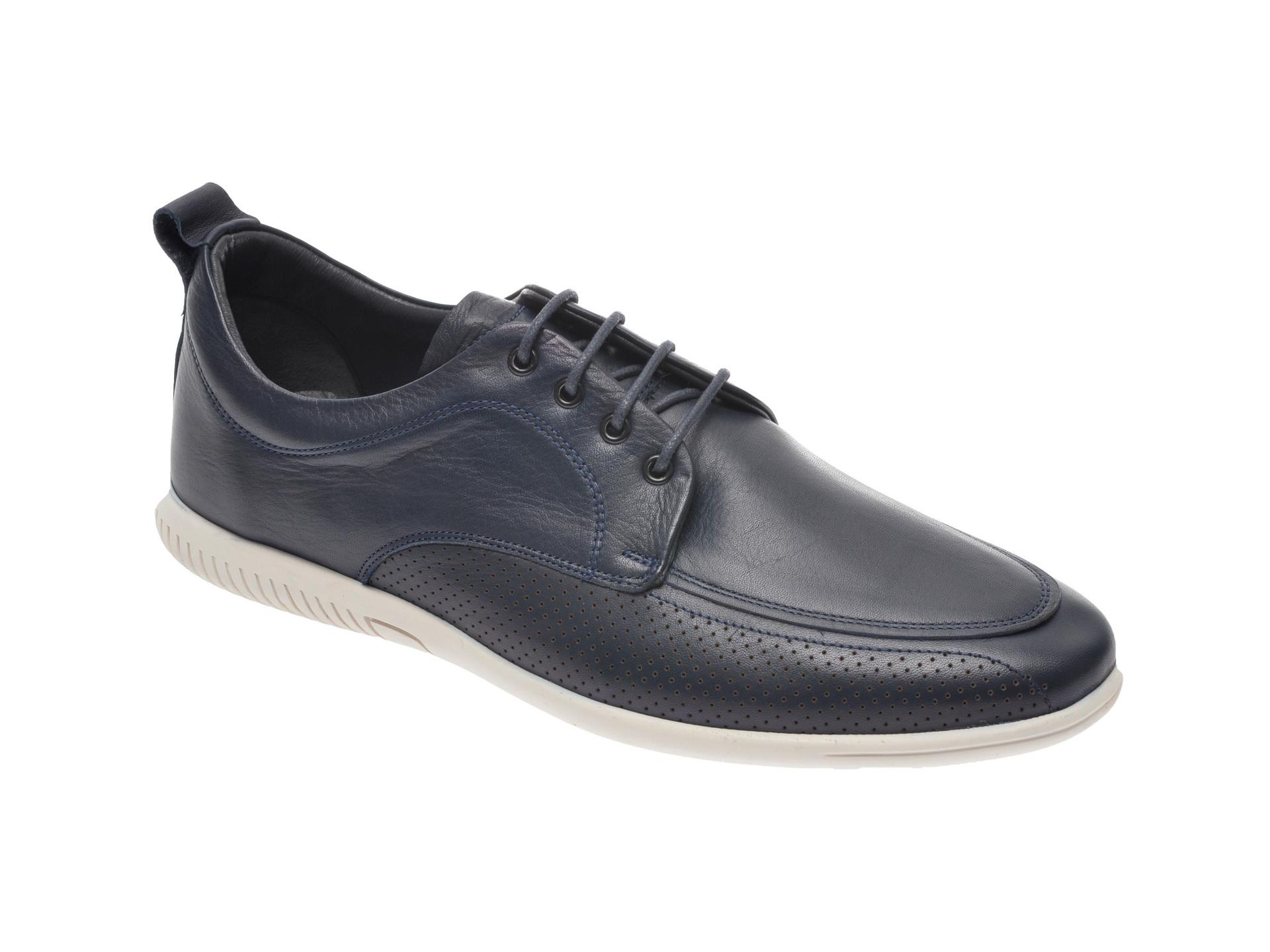 Pantofi OTTER bleumarin, 53601, din piele naturala imagine