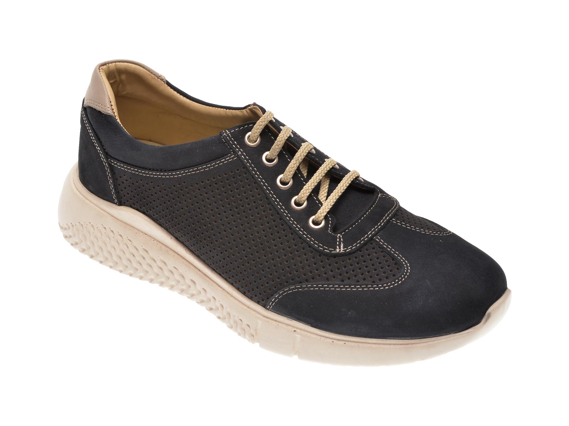 Pantofi OTTER bleumarin, 91528, din piele intoarsa imagine