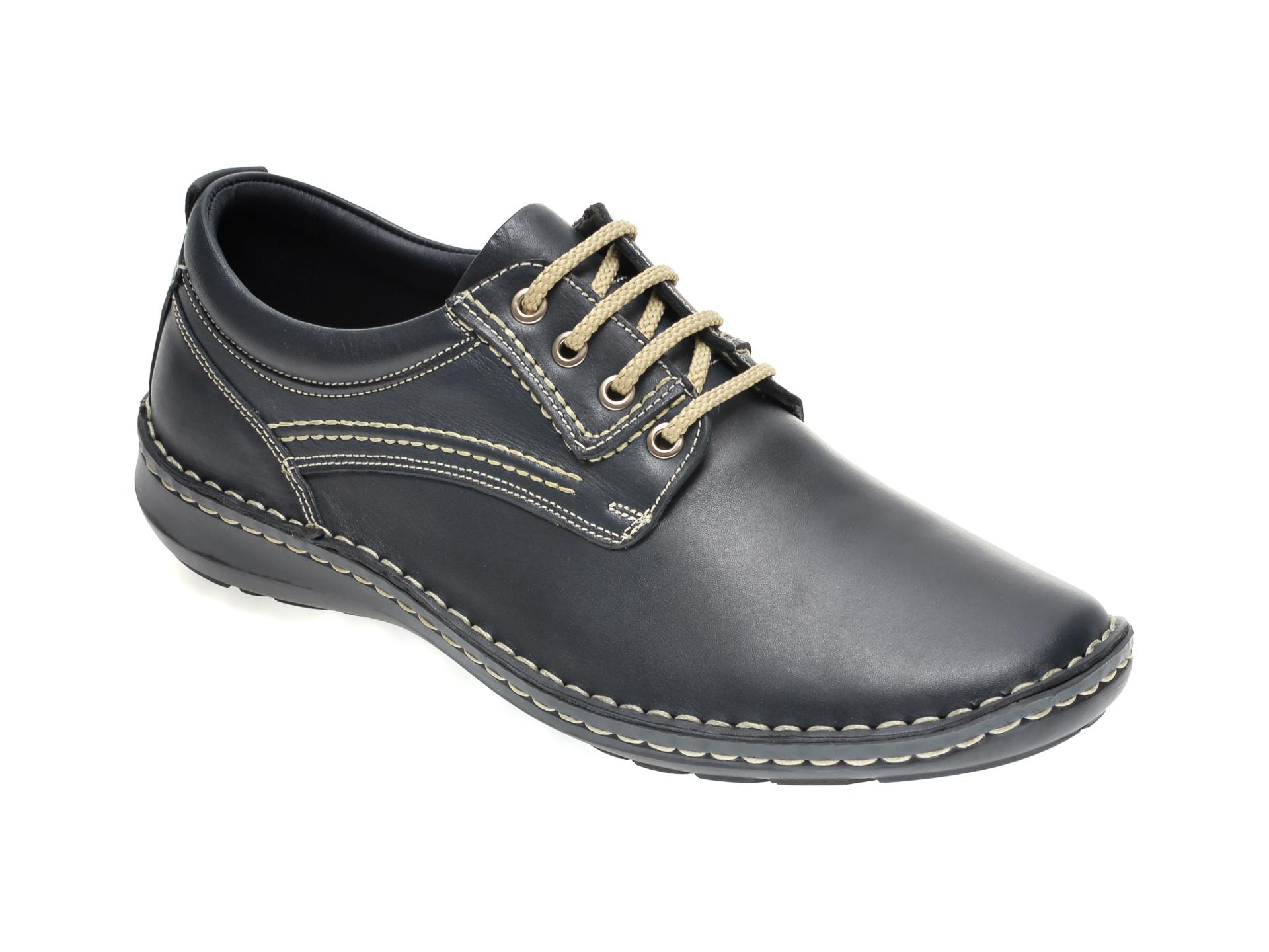 Pantofi OTTER bleumarin, 9540, din piele naturala imagine