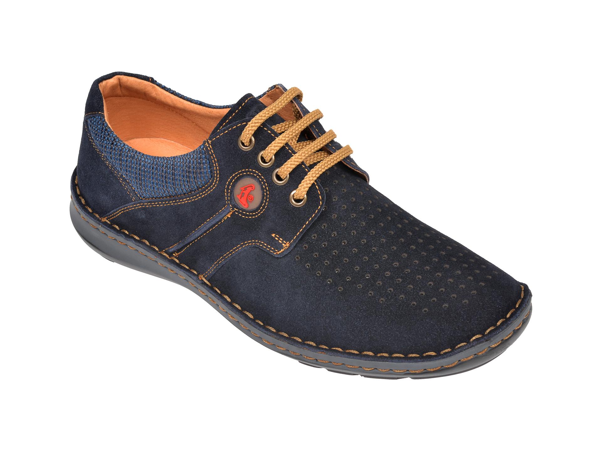 Pantofi Otter Bleumarin, 9560, Din Piele Intoarsa