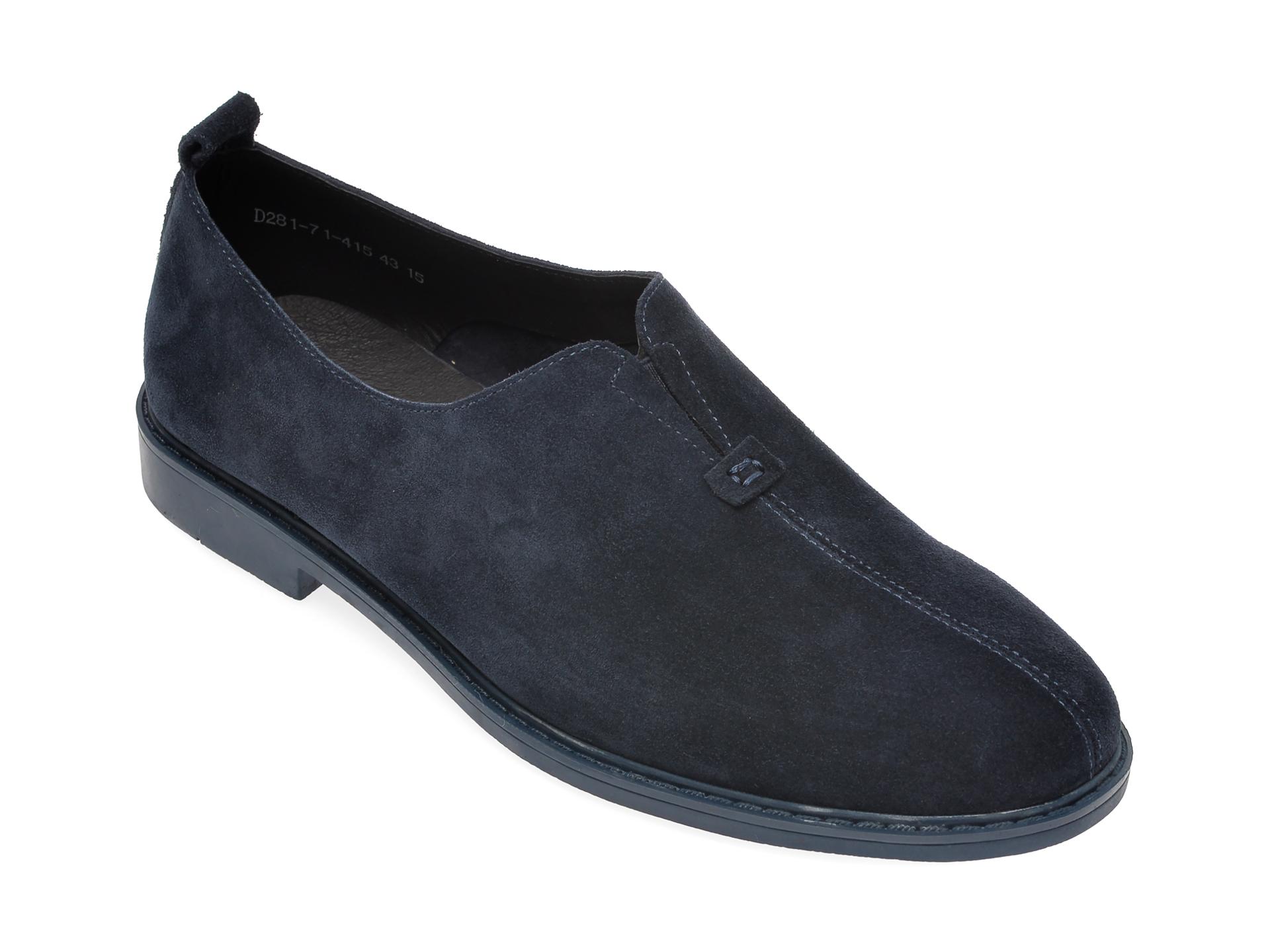 Pantofi OTTER bleumarin, D281714, din piele intoarsa imagine