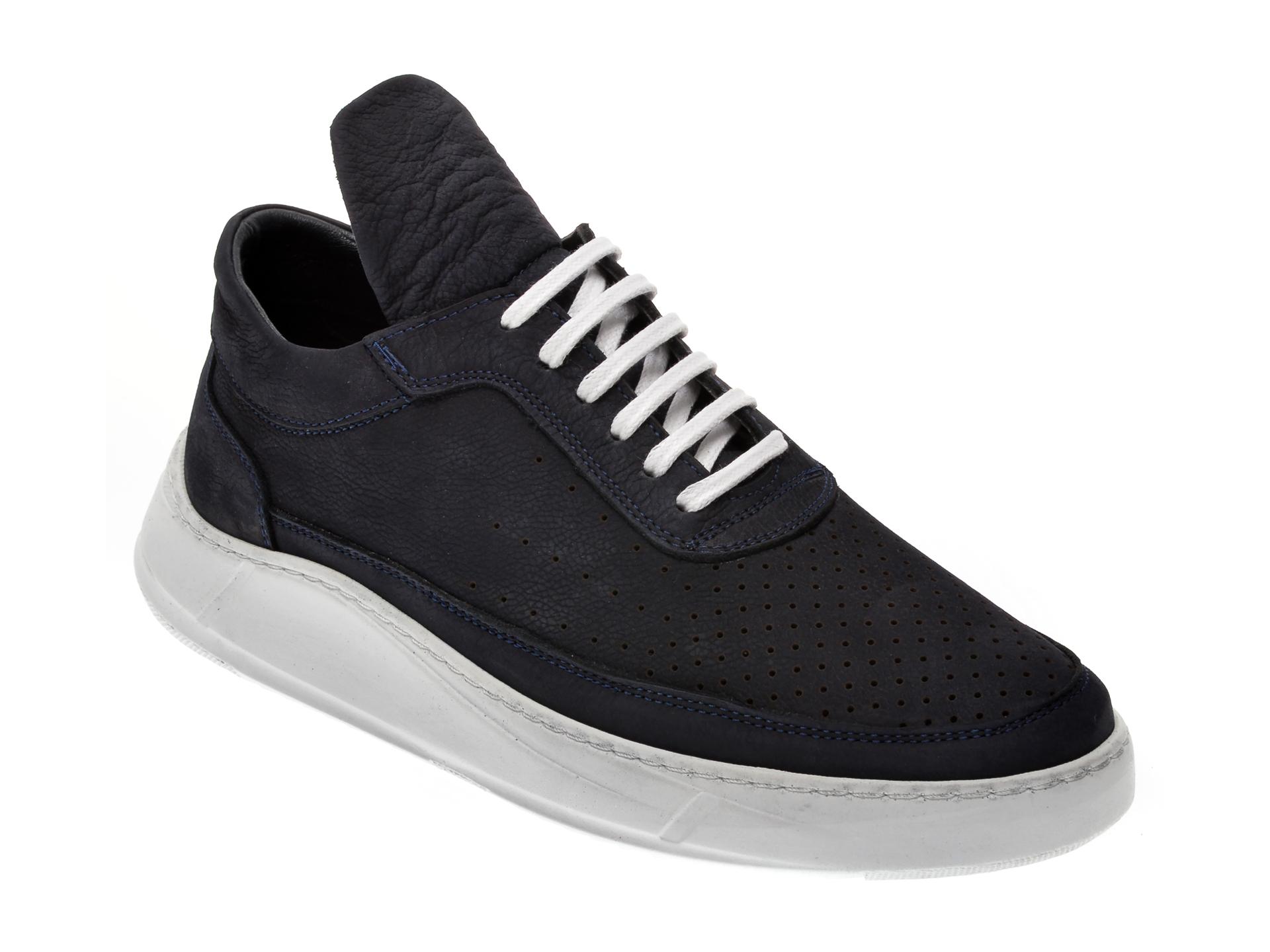 Pantofi OTTER bleumarin, M1715, din nabuc