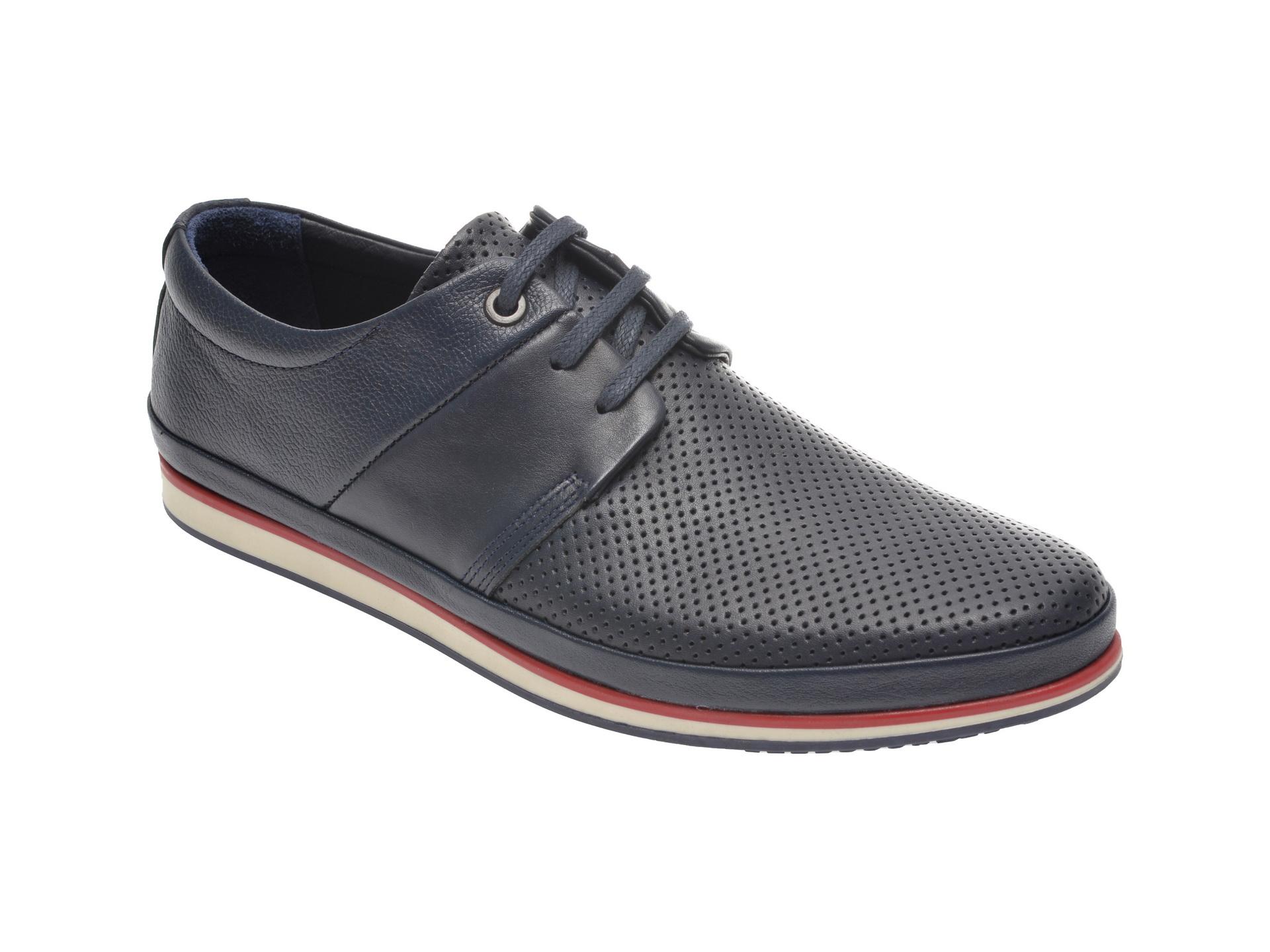 Pantofi OTTER bleumarin, M5119, din piele naturala imagine