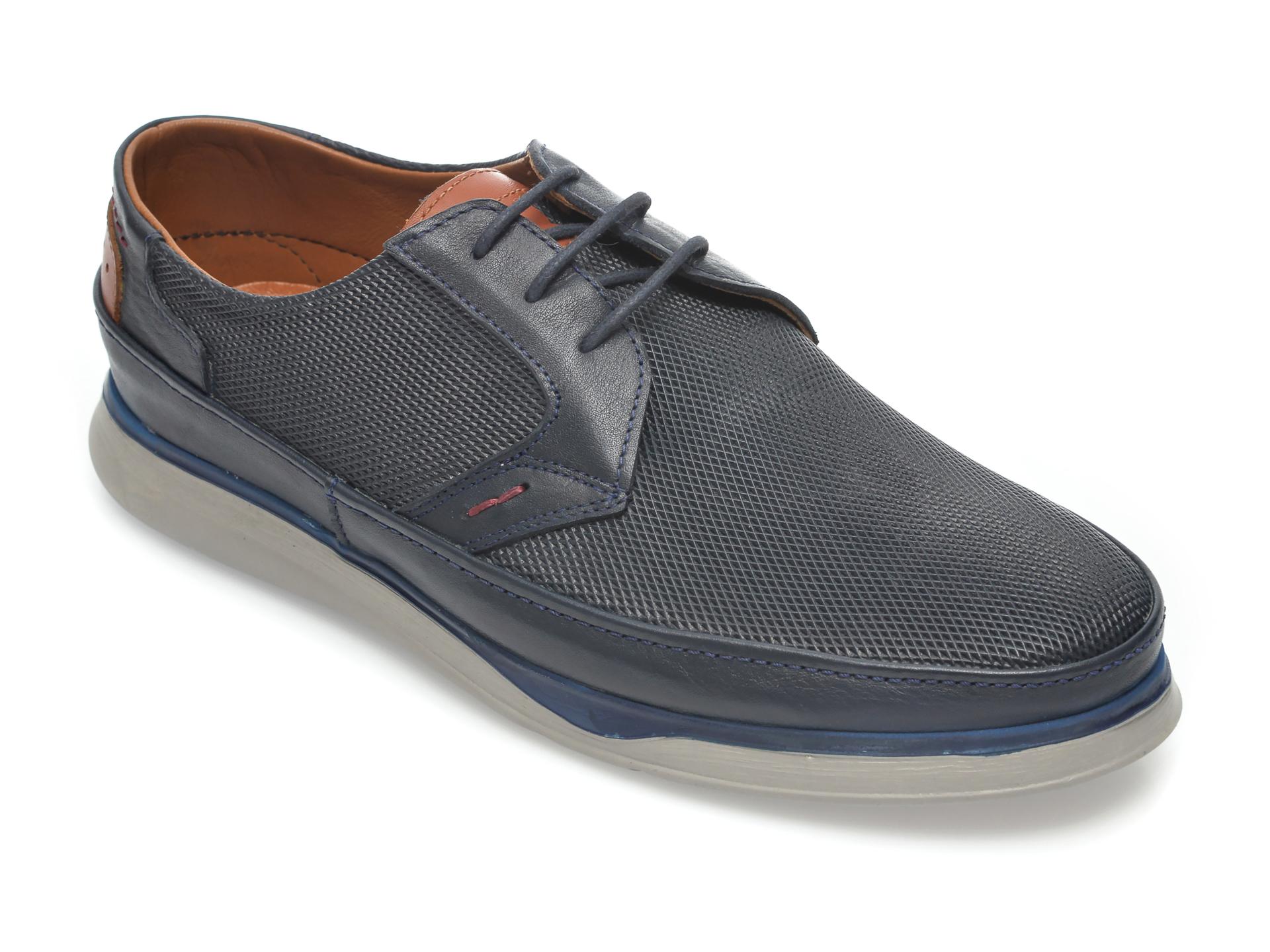 Pantofi OTTER bleumarin, M5547, din piele naturala imagine
