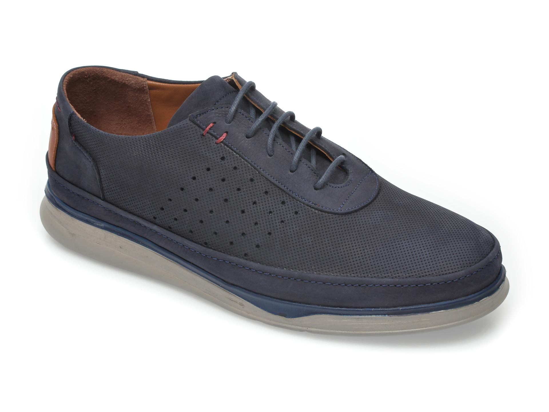 Pantofi OTTER bleumarin, M5580, din nabuc imagine