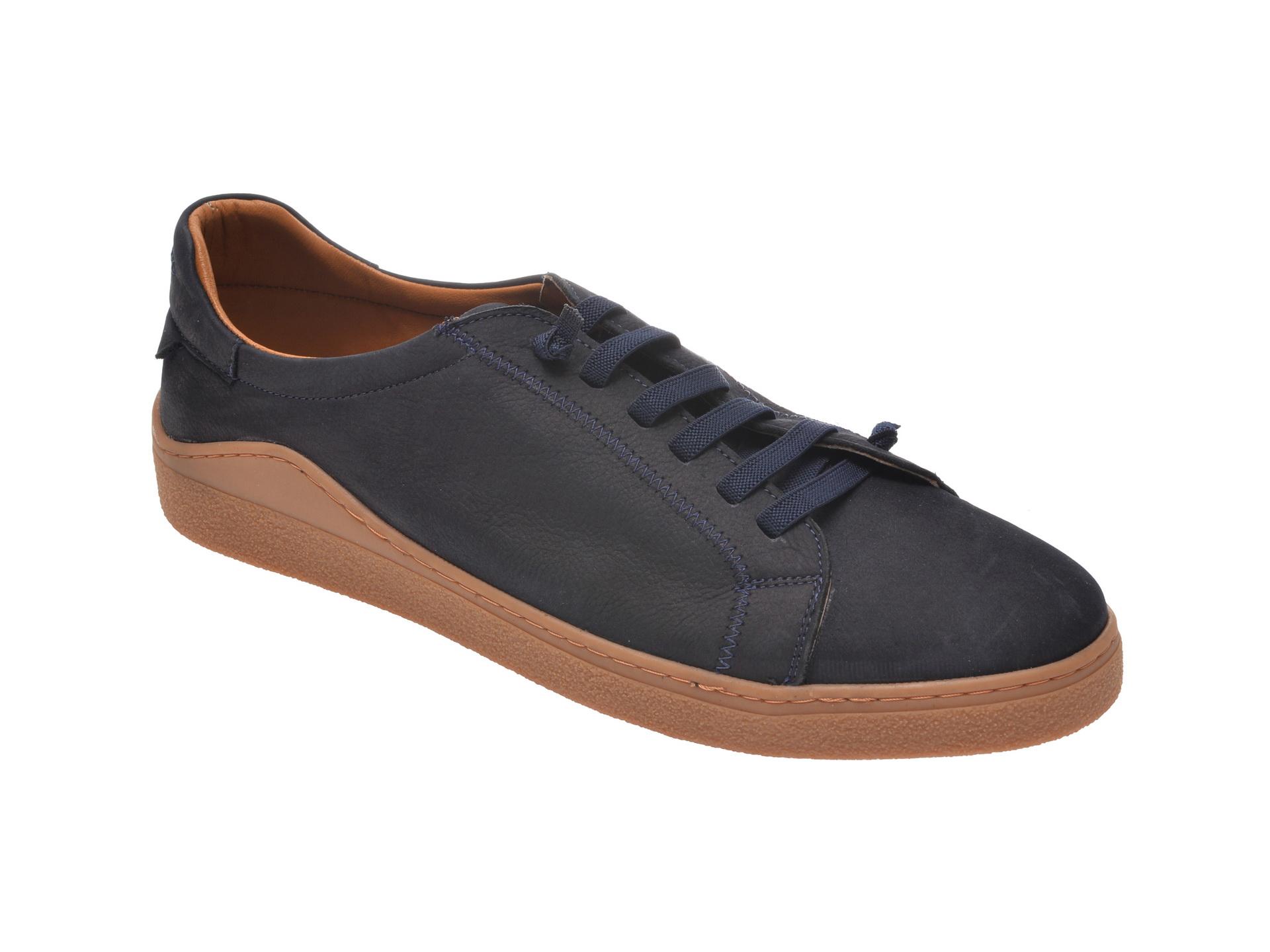 Pantofi OTTER bleumarin, M5607, din nabuc imagine