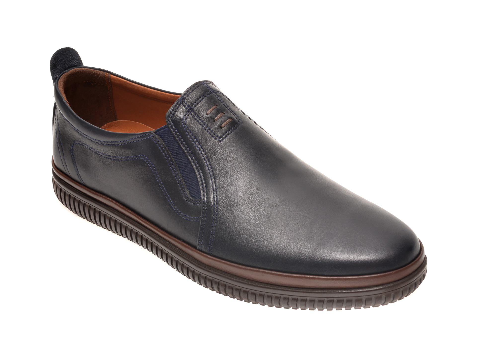 Pantofi OTTER bleumarin, M5702, din piele naturala imagine otter.ro