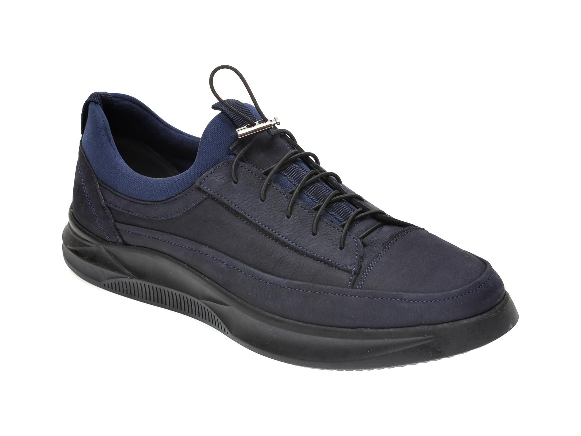 Pantofi OTTER bleumarin, M5794, din nabuc imagine