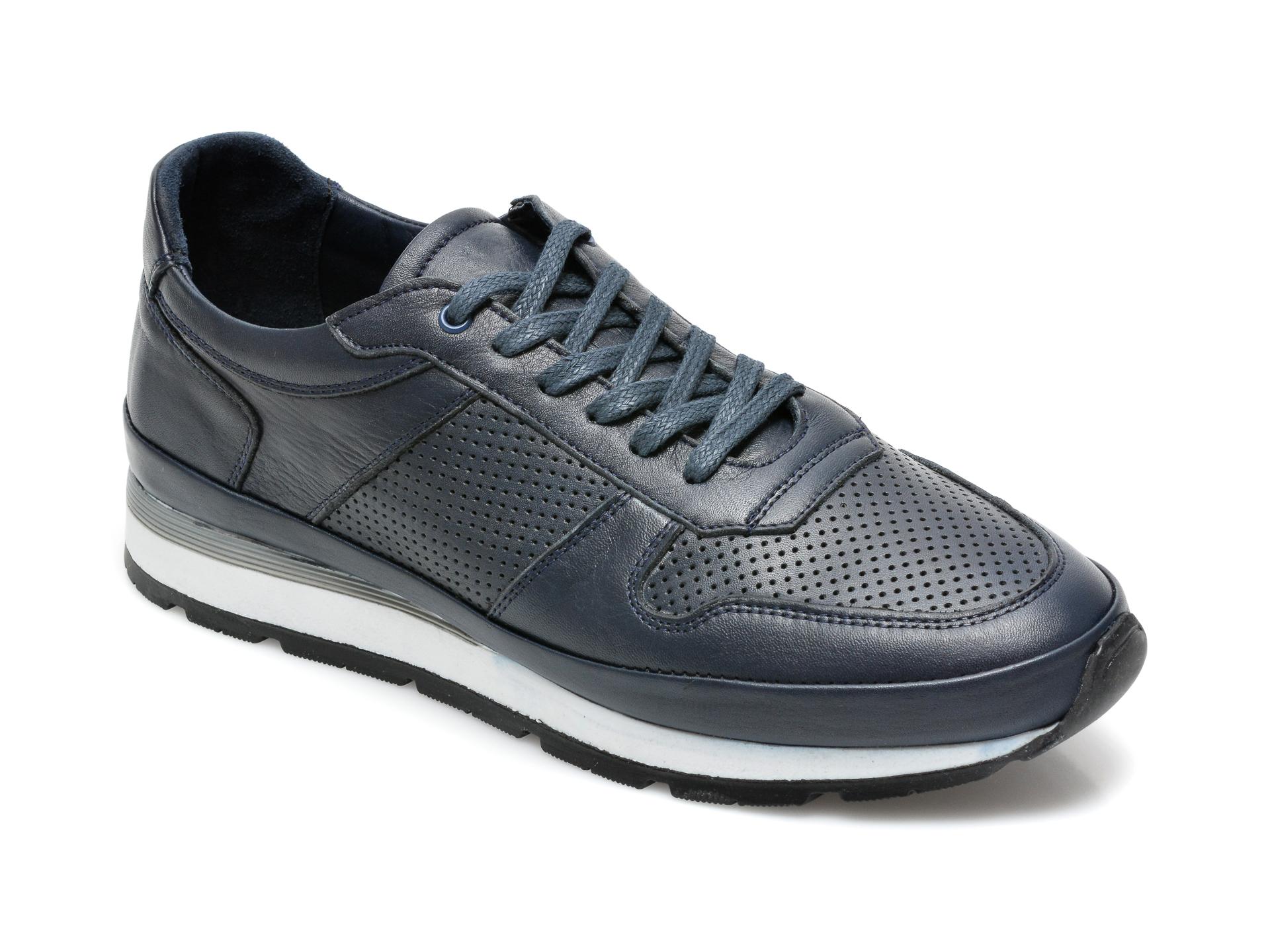 Pantofi OTTER bleumarin, M6094, din piele naturala