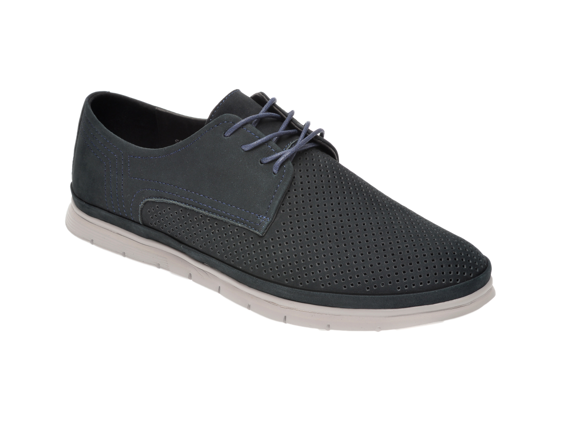 Pantofi OTTER bleumarin, S074721, din piele intoarsa imagine