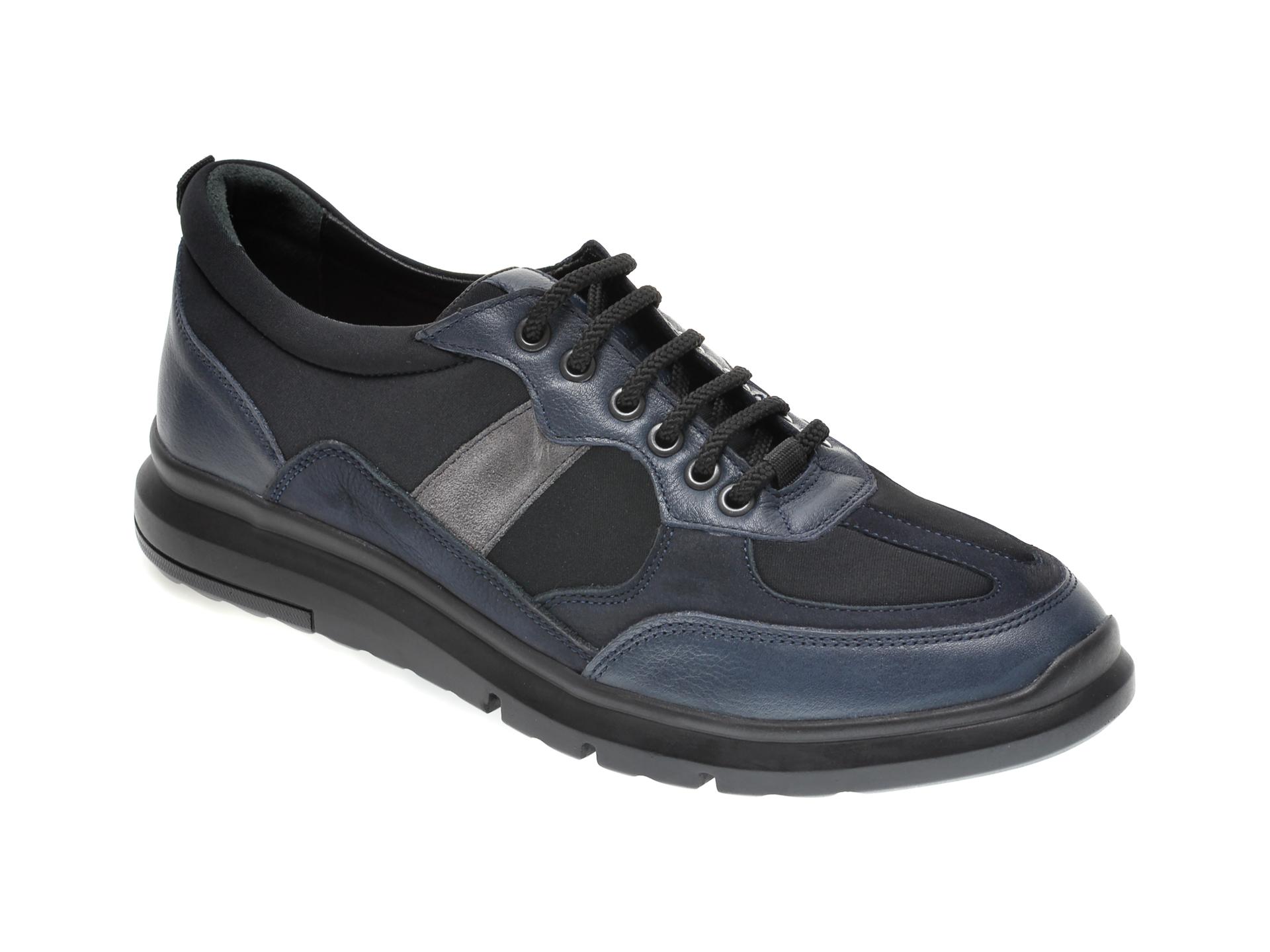 Pantofi OTTER bleumarin, TTP43, din material textil si piele naturala imagine