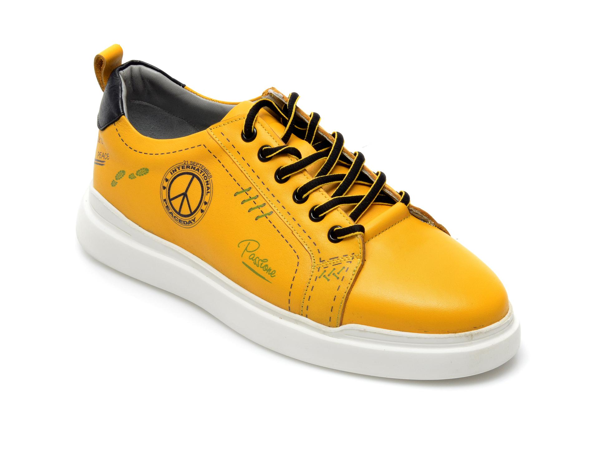 Pantofi OTTER galbeni, 24806, din piele naturala imagine otter.ro