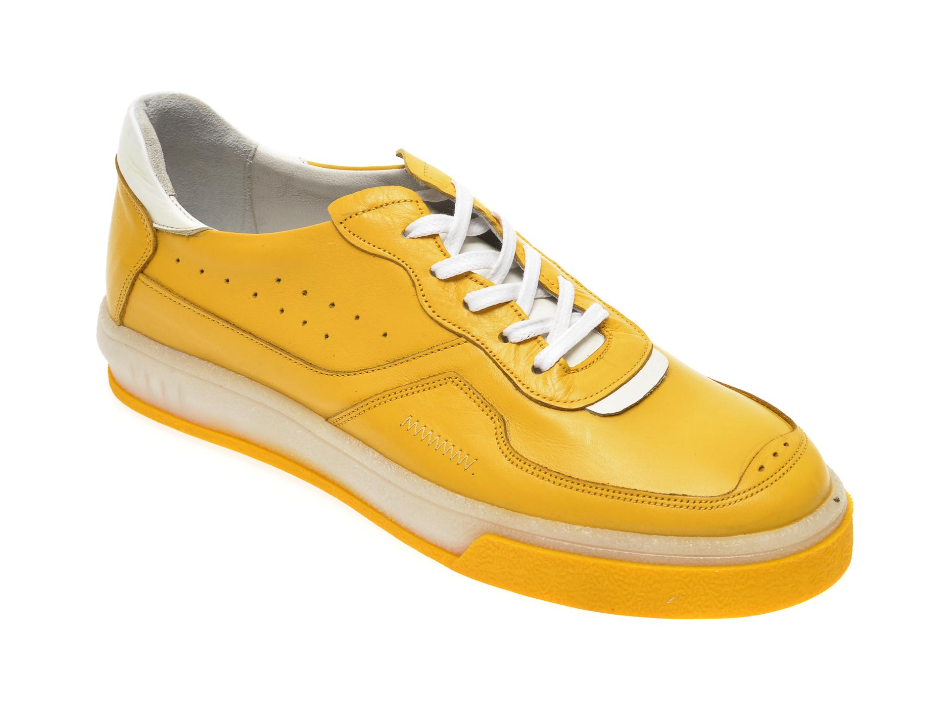 Pantofi OTTER galbeni, M5535, din piele naturala
